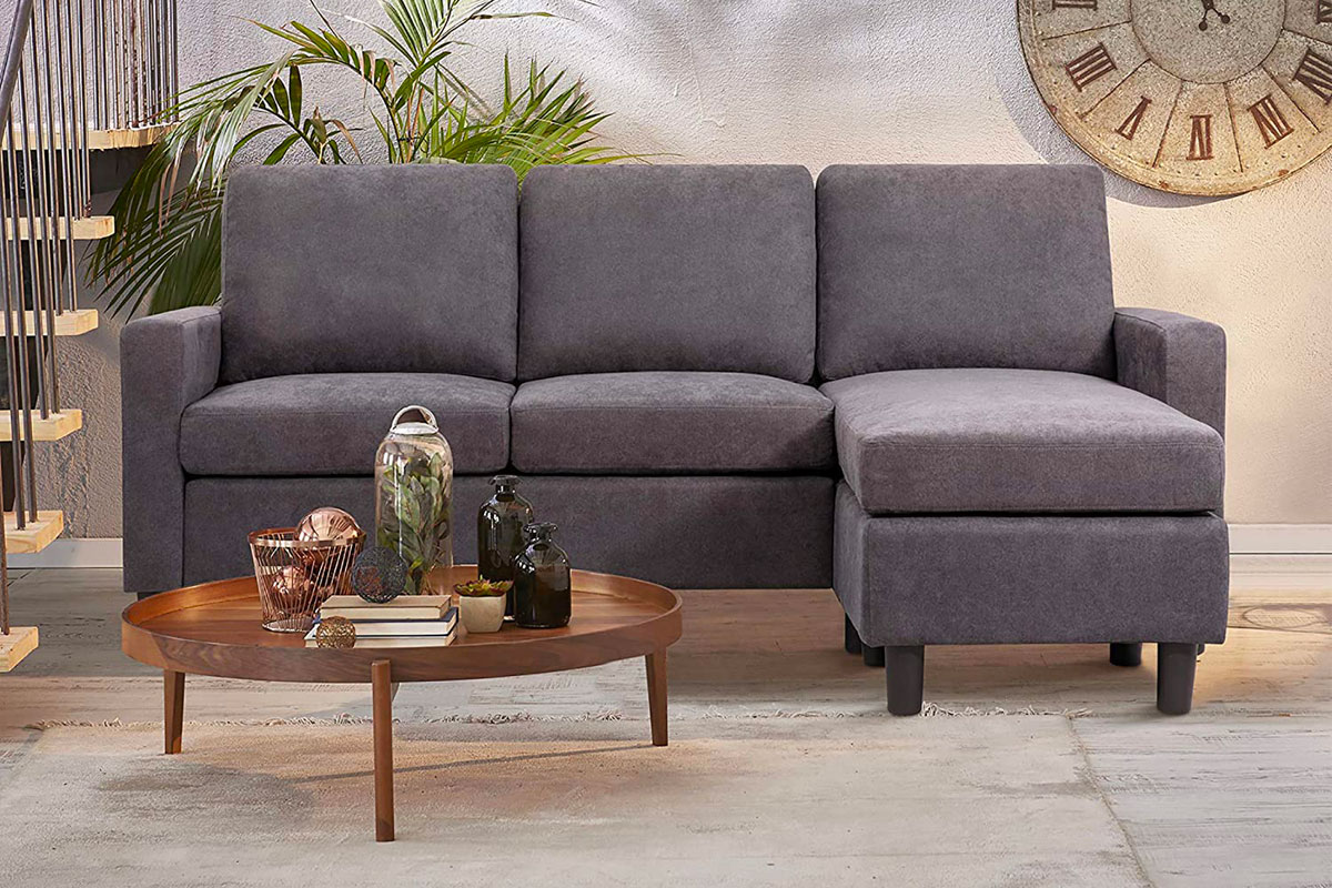 JY QAQA Convertible Sectional Sofa Couch with Reversible Chaise