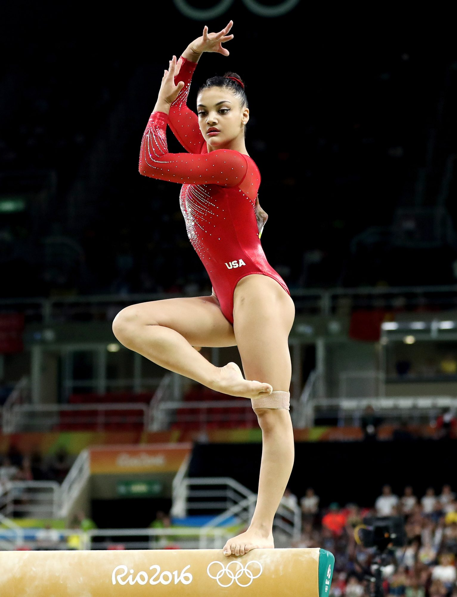 Lauren Hernandez of the United States competes in the Balance Beam Final on day 10 of the Rio 2016 Olympic Games at Rio Olympic Arena on August 15, 2016 in Rio de Janeiro, Brazil