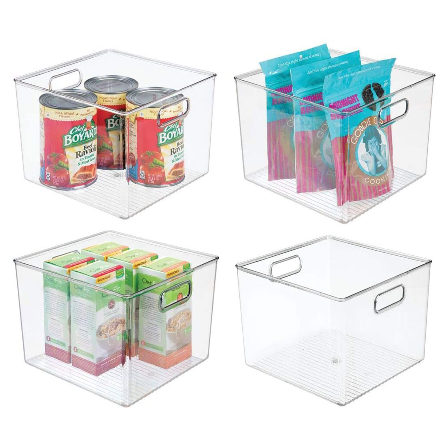 Storage Bin Basket with Open Front for Kitchen Cabinets, Pantry for Organizing