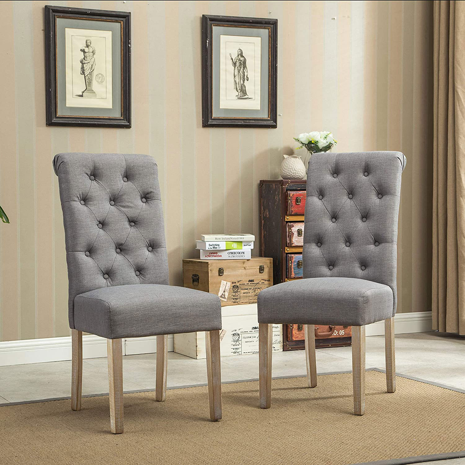 Roundhill Furniture Habit Grey Solid Wood Tufted Parsons Dining Chair