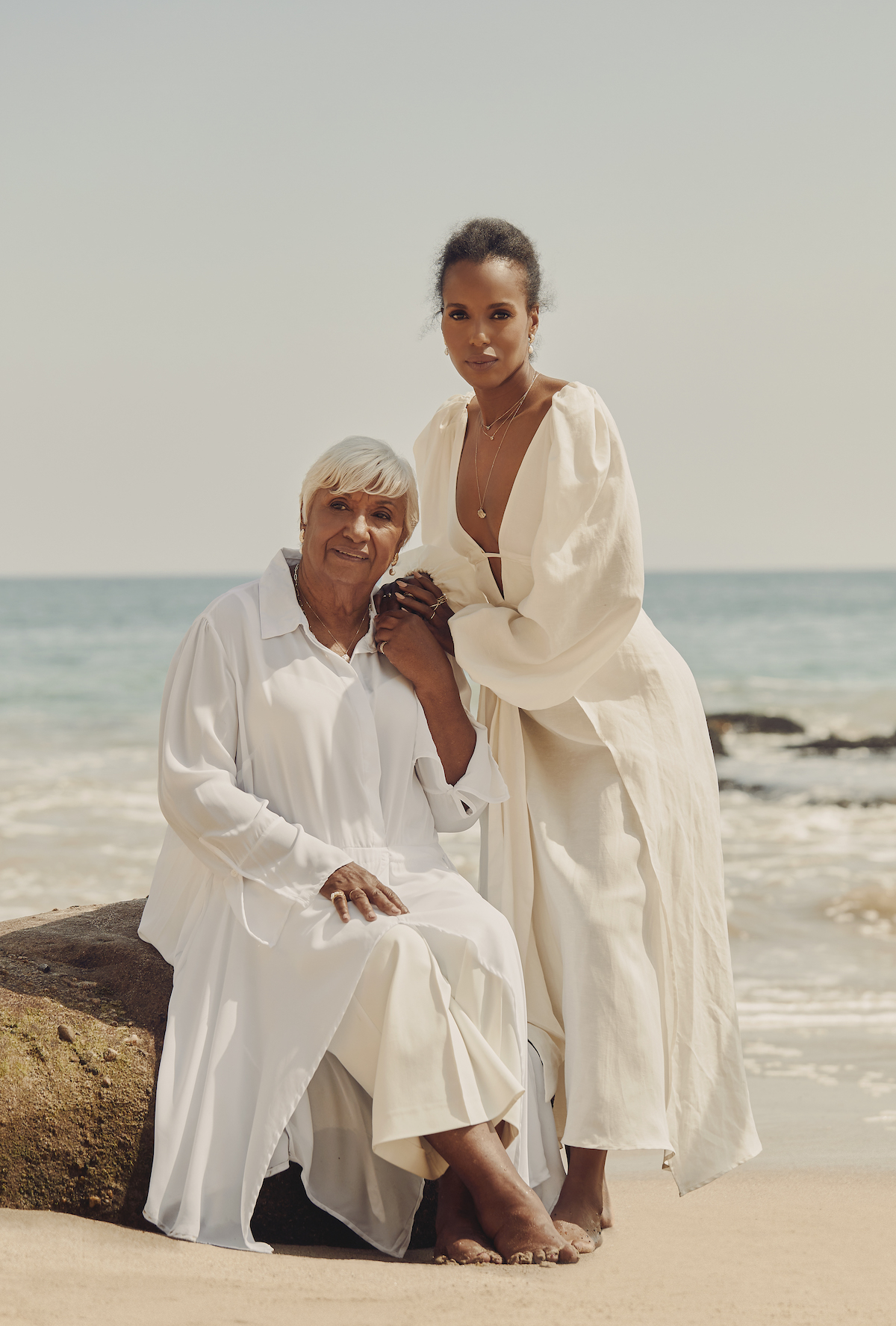 Kerry Washington and mom Valerie Washington model in the campaign for Aurate x Kerry Washington Mother's Day 2021 Jewelry Collection - Photos by David Urbanke