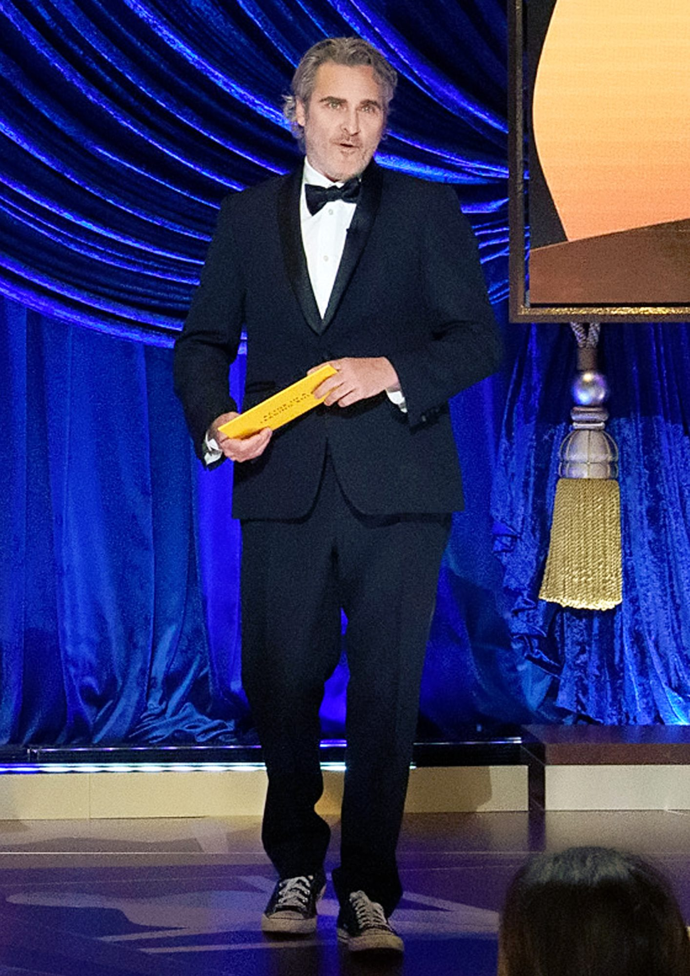 Joaquin Phoenix presents the Oscar for Actor in a Leading Role the 93rd Annual Academy Awards at Union Station on April 25, 2021