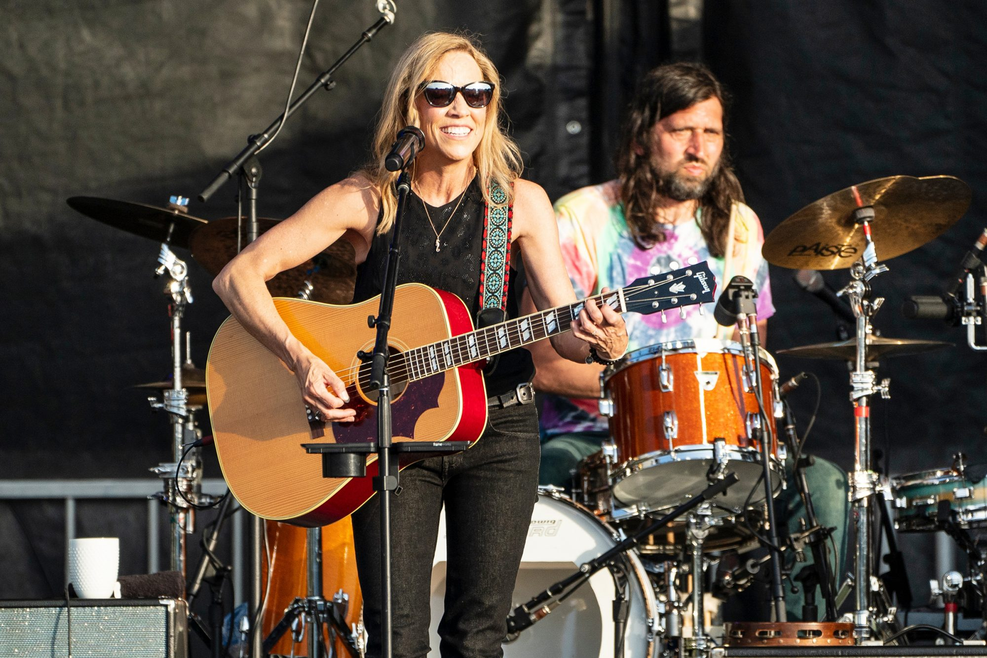 Sheryl Crow (L) and Fred Eltringham perform during Moon Crush Music Vacation at Seascape Resort on April 29, 2021 in Miramar Beach, Florida