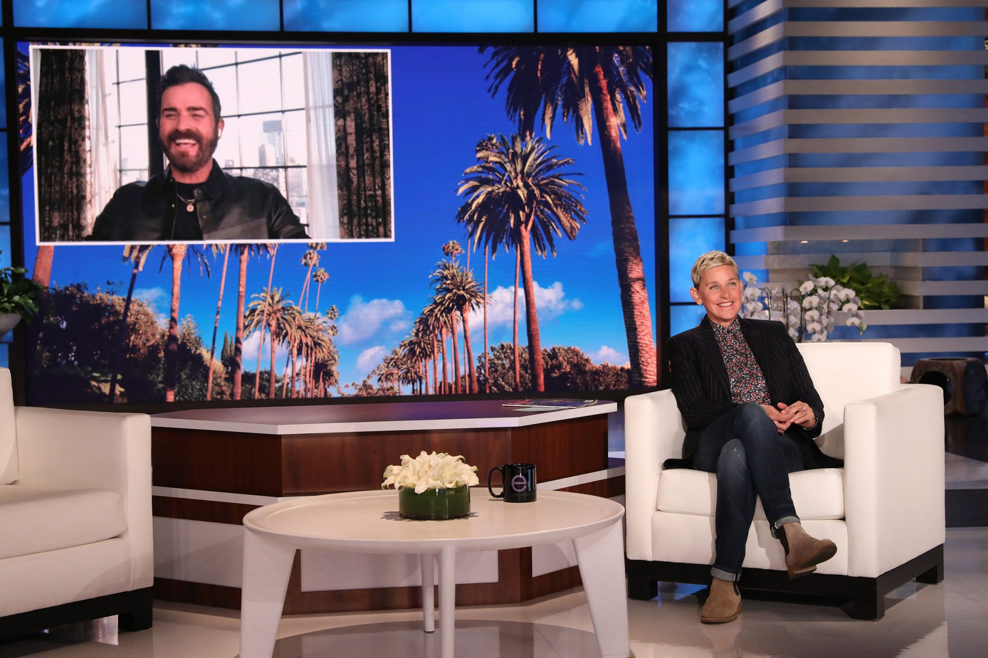 """""""The Mosquito Coast"""" star Justin Theroux makes an appearance on """"The Ellen DeGeneres Show"""" via video chat airing Monday, May 3rd."""