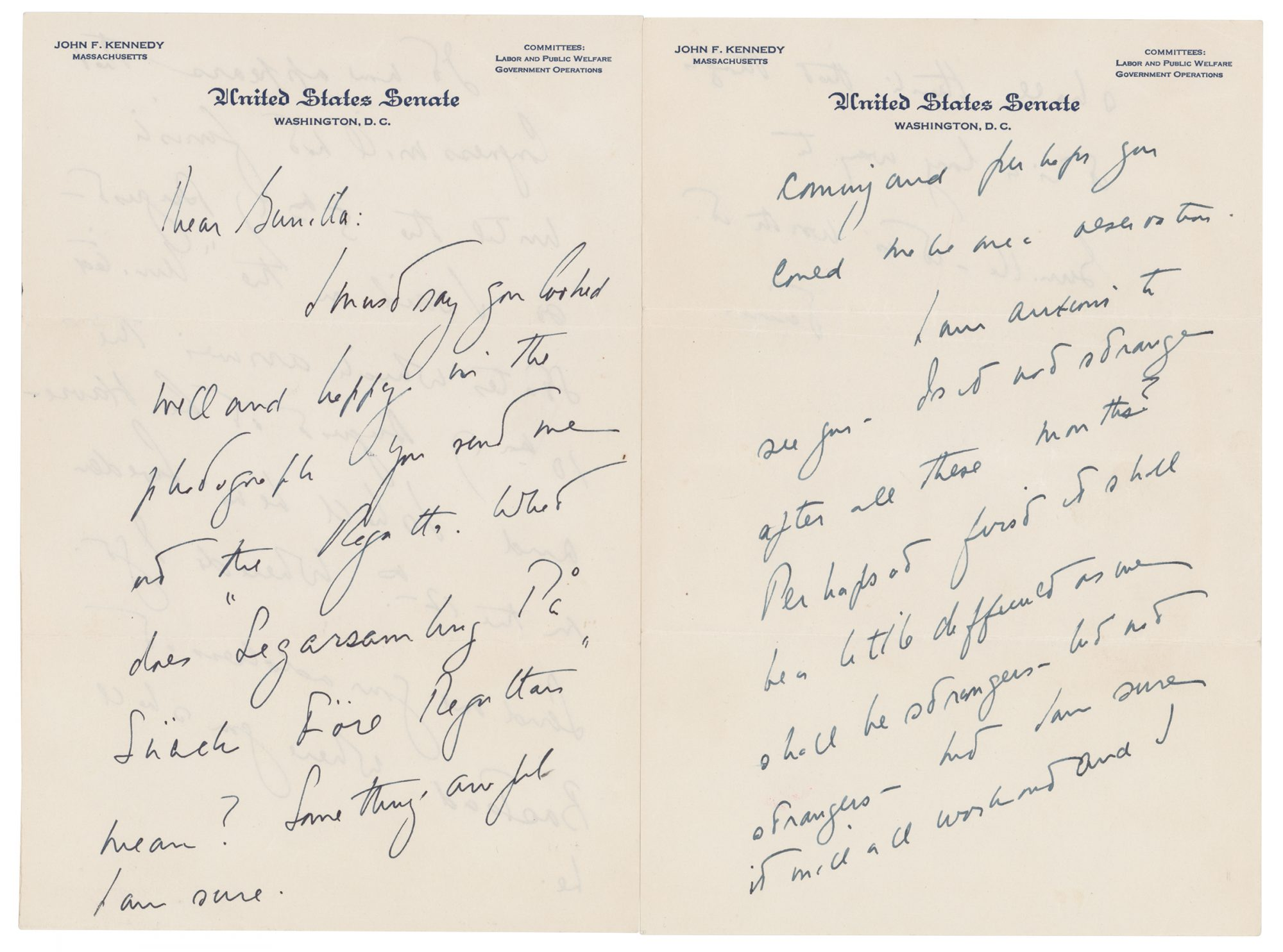 Revealing' JFK Love Letters to Swedish Mistress Up for Sale at Boston Auction House