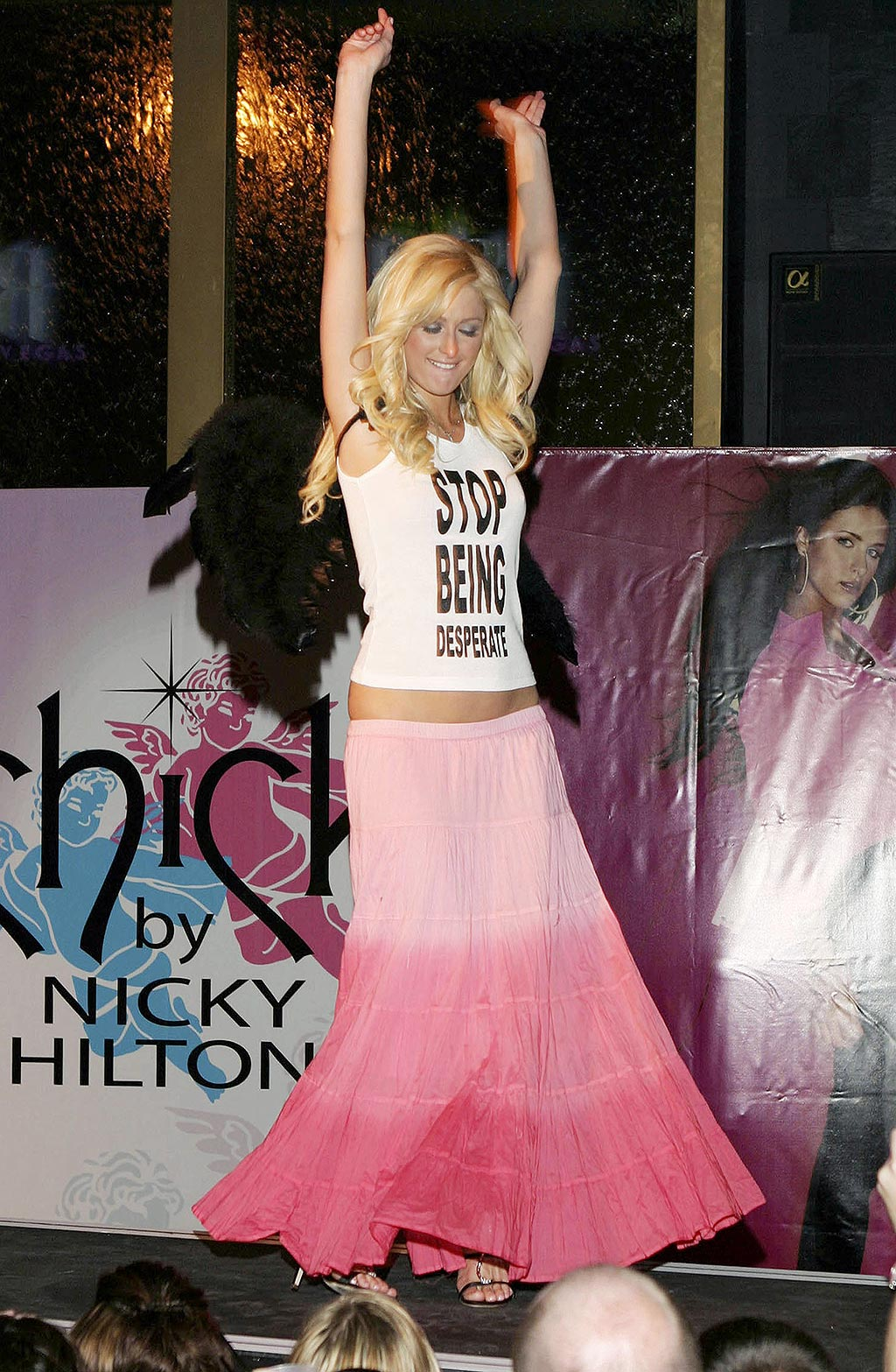 Paris Hilton wearing Chick by Nicky Hilton during Nicky Hilton Launches her New Clothing Line Chick by Nicky Hilton in Las Vegas, Nevada, United States.