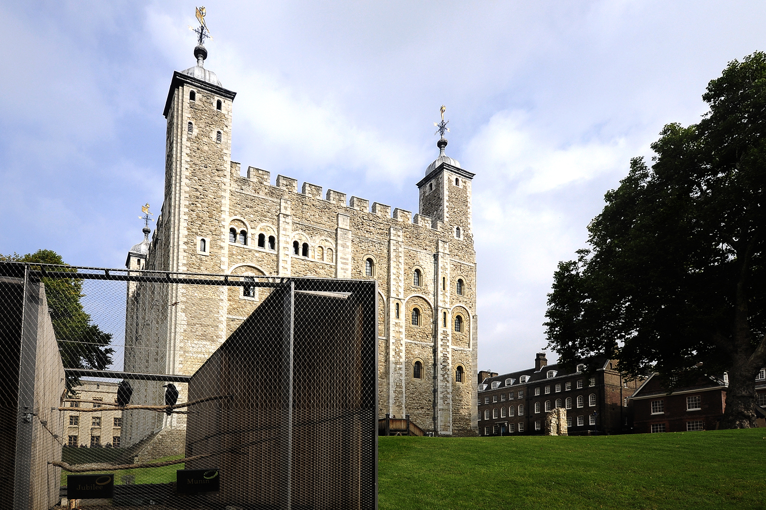 Raven cages to house the iconic birds are beside White Tower at the Tower of London