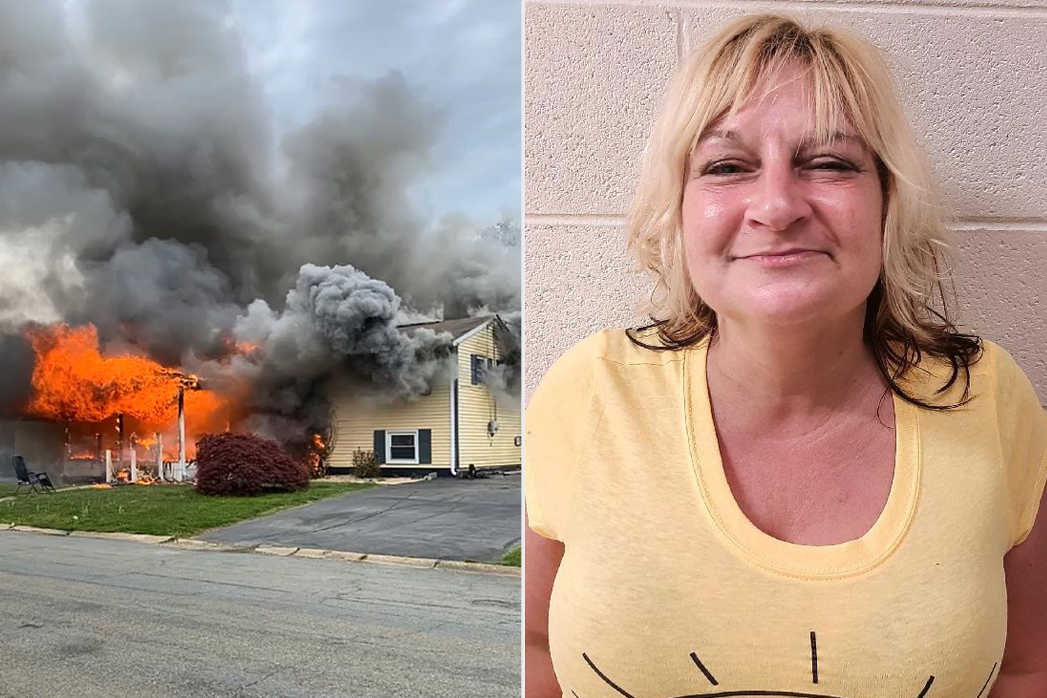 A woman sat in a lawn chair after setting her home on fire and watched the house become engulfed in flames