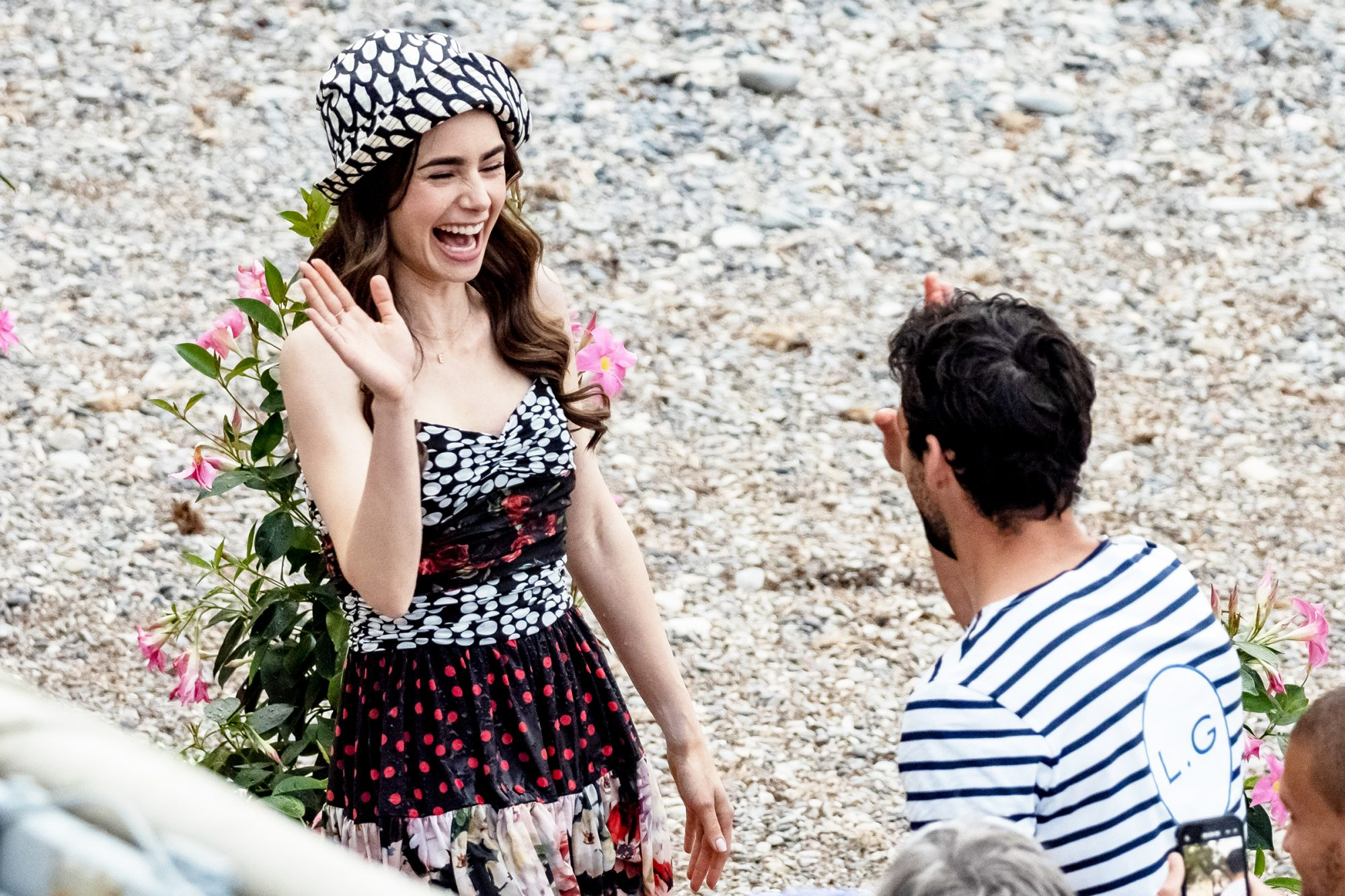 "Lily Collins is seen filming on set of series two of ""Emily in Paris"" on May 4, 2021 in Saint-Jean-Cap-Ferrat, France"