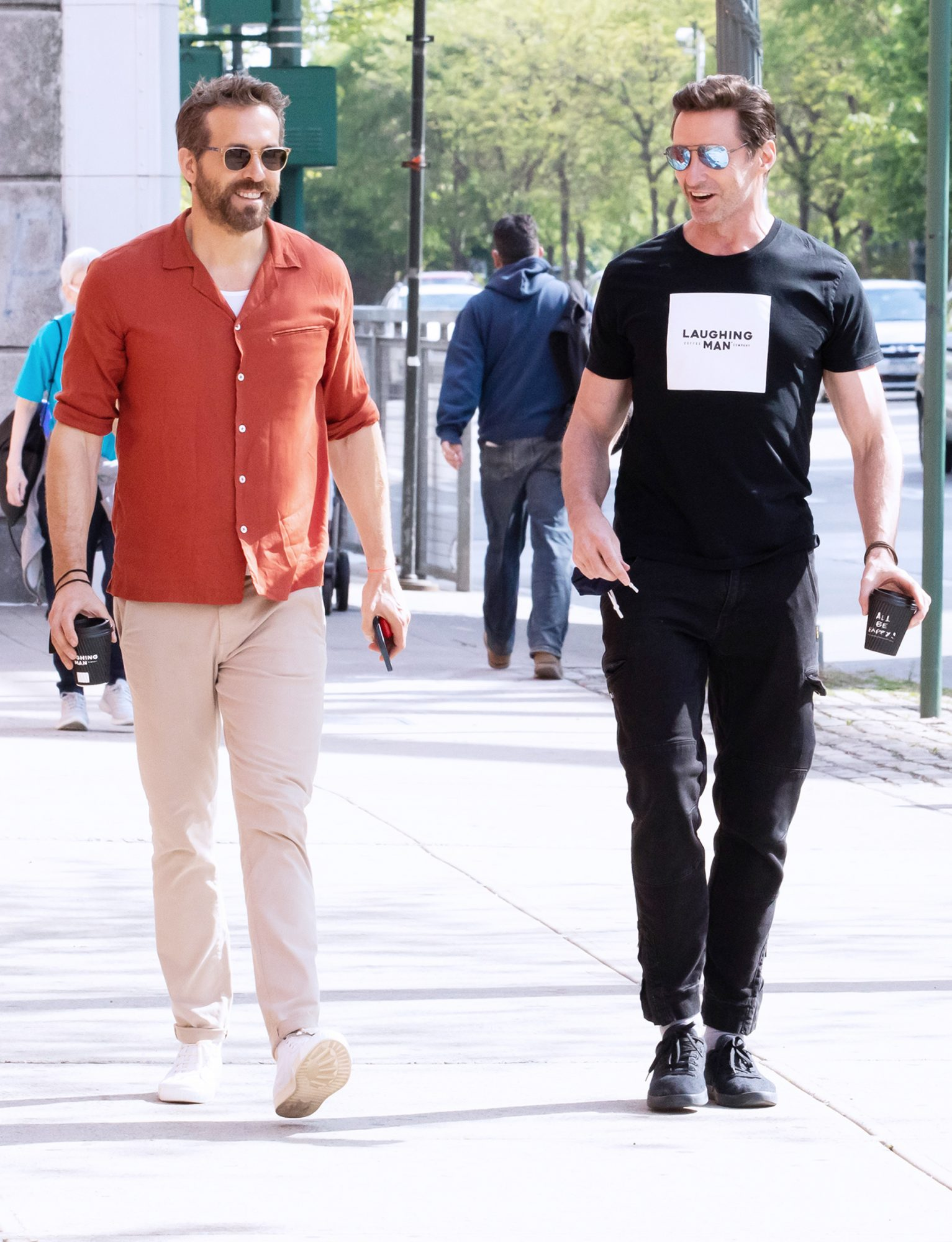 Hugh Jackman and Ryan Reynolds have lunch together in NYC,