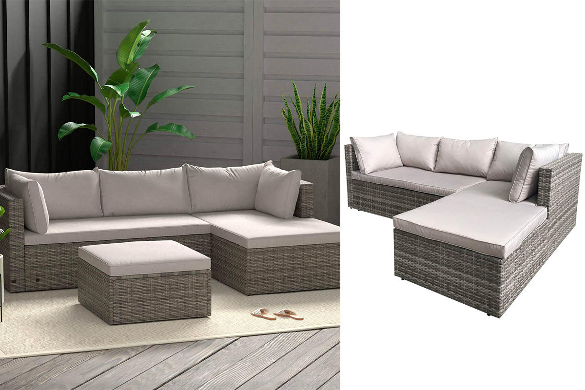 Amazon Basics Outdoor Reversible Chaise Wicker Rattan Sectional 3-Piece Set