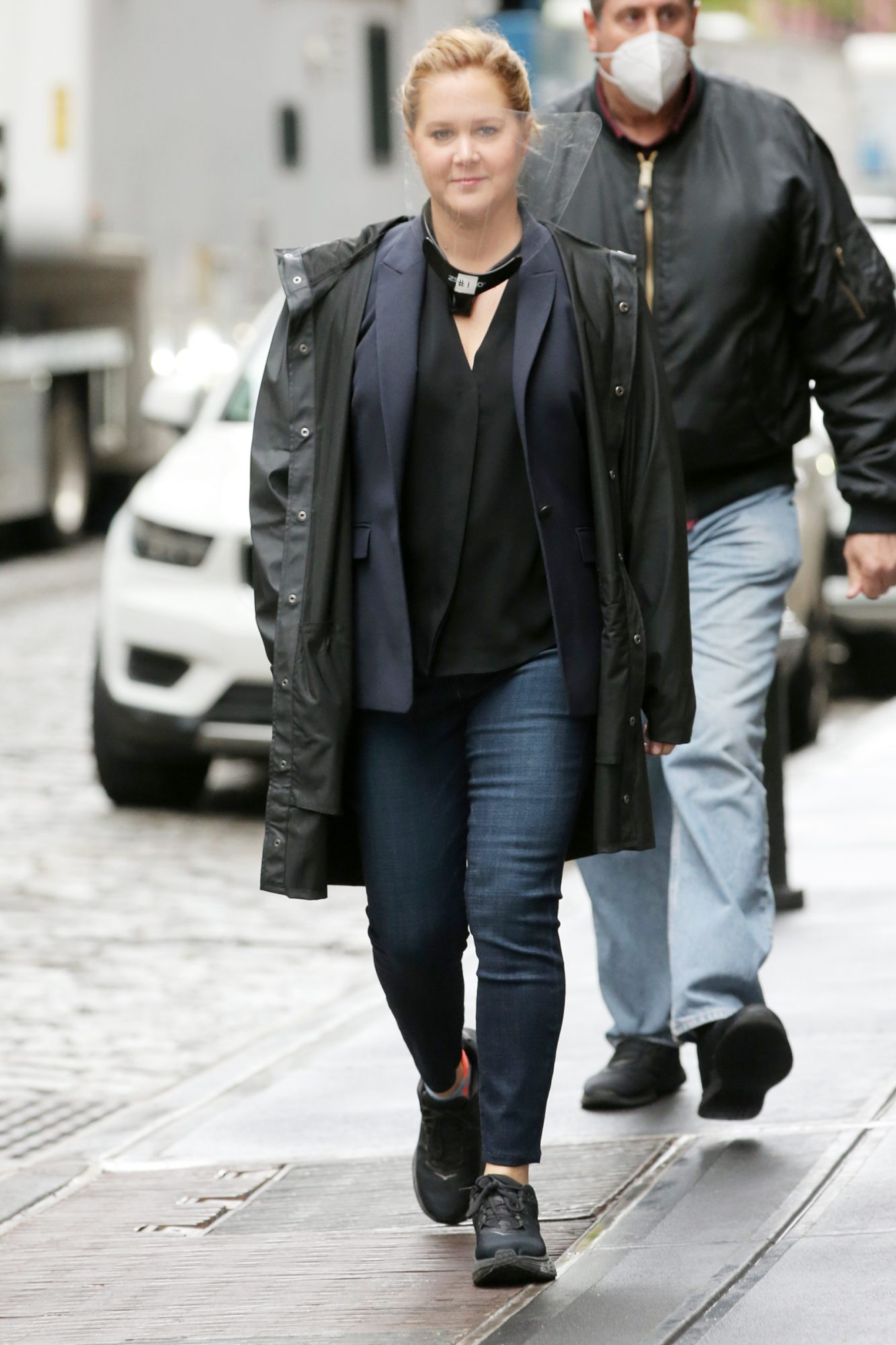 Comedian Amy Schumer walks to the set of 'Life & Beth' in New York City