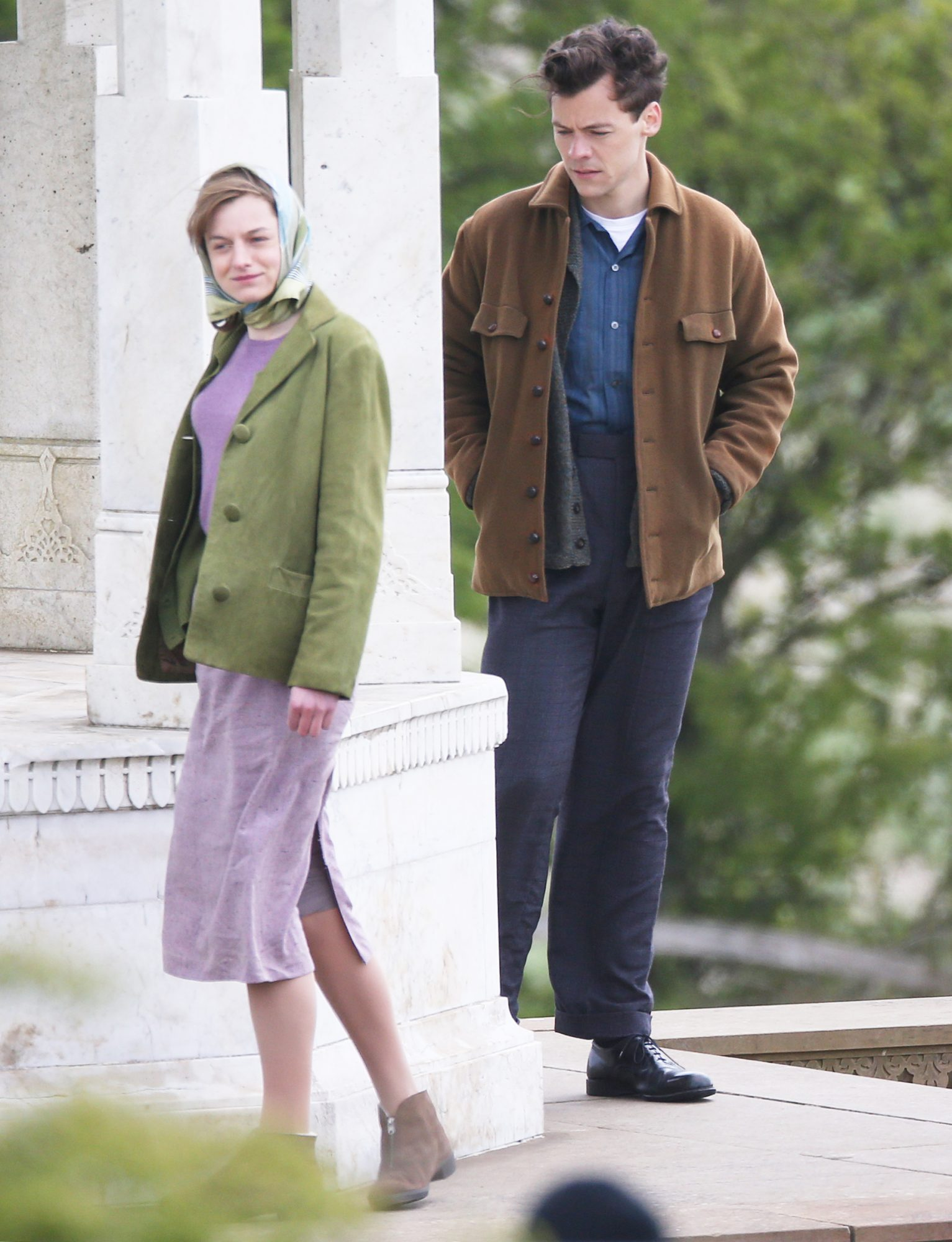 David Dawson, Harry Styles And Emma Corrin Seen Filming 'My Policeman' At The Chattri Monument