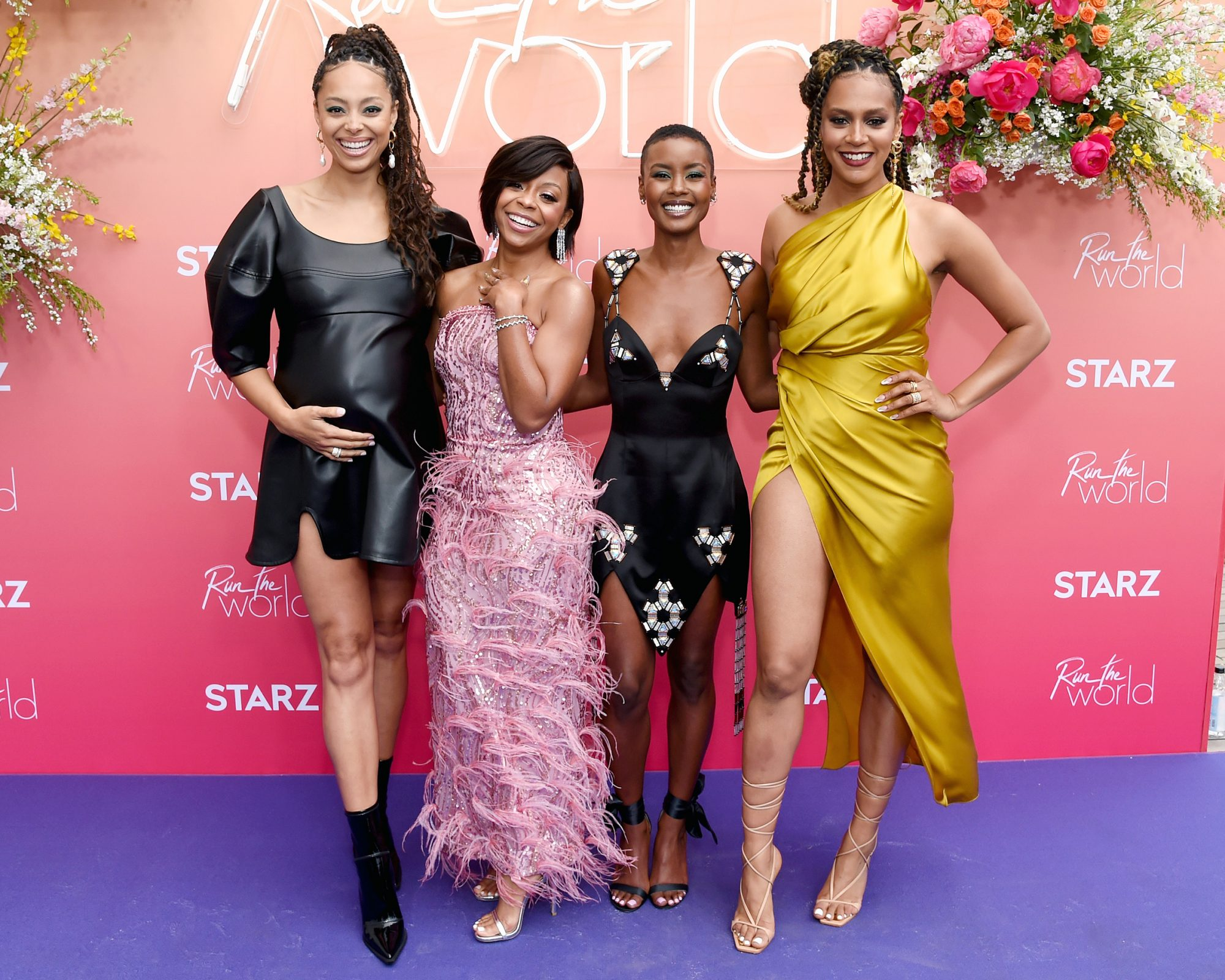 """Amber Stevens West, Bresha Webb, Andrea Bordeaux, and Corbin Reid attend the """"Run the World"""" Los Angeles premiere event and screening on May 13, 2021 in Los Angeles, California"""