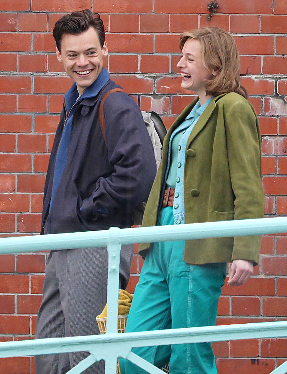 """Harry Styles and Emma Corrin seen on the set for """"My Policeman"""" on May 13, 2021 in Brighton"""