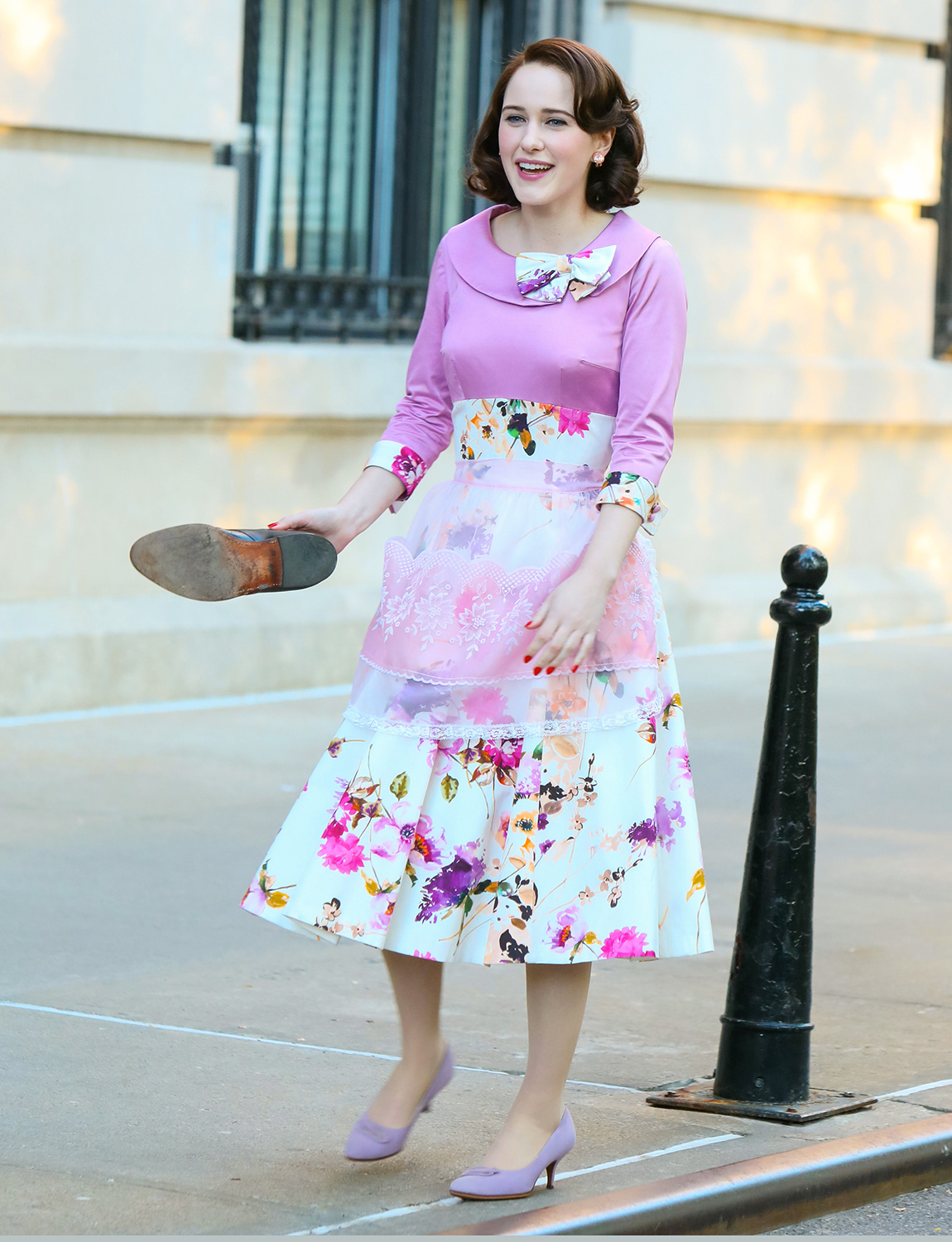 Rachel Brosnahan is seen at the film set of 'The Marvelous Mrs Maisel' TV Series on May 13, 2021 in New York City