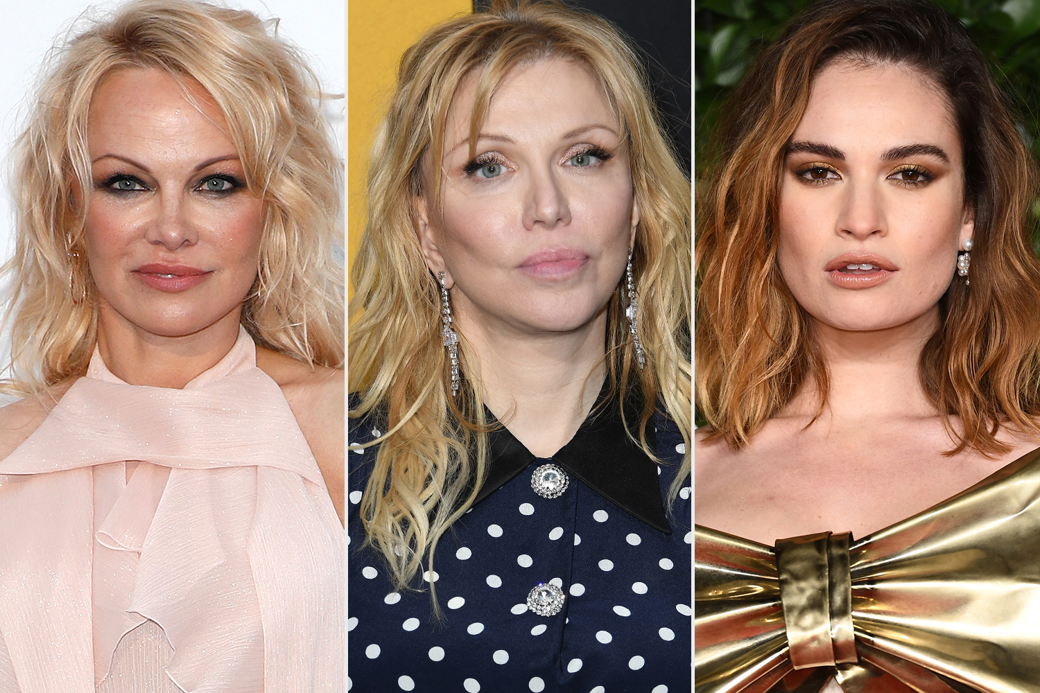 Pamela Anderson, Courtney Cox, Lily James