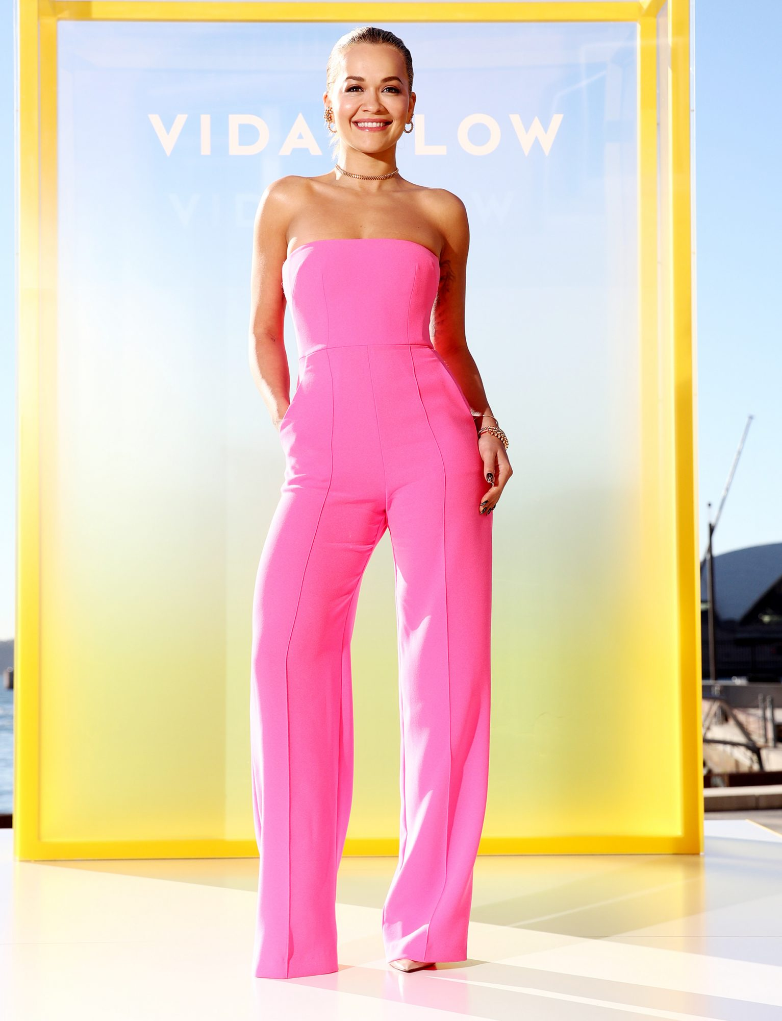 Rita Ora attends the Vide Glow global launch at Sydney Harbour on May 17, 2021 in Sydney