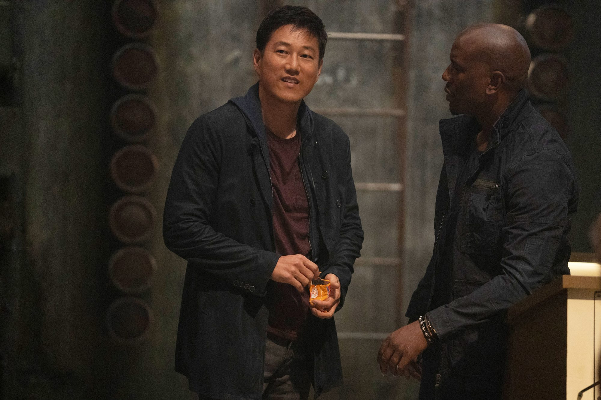 (from left) Han (Sung Kang) and Roman (Tyrese Gibson) in F9, directed by Justin Lin.