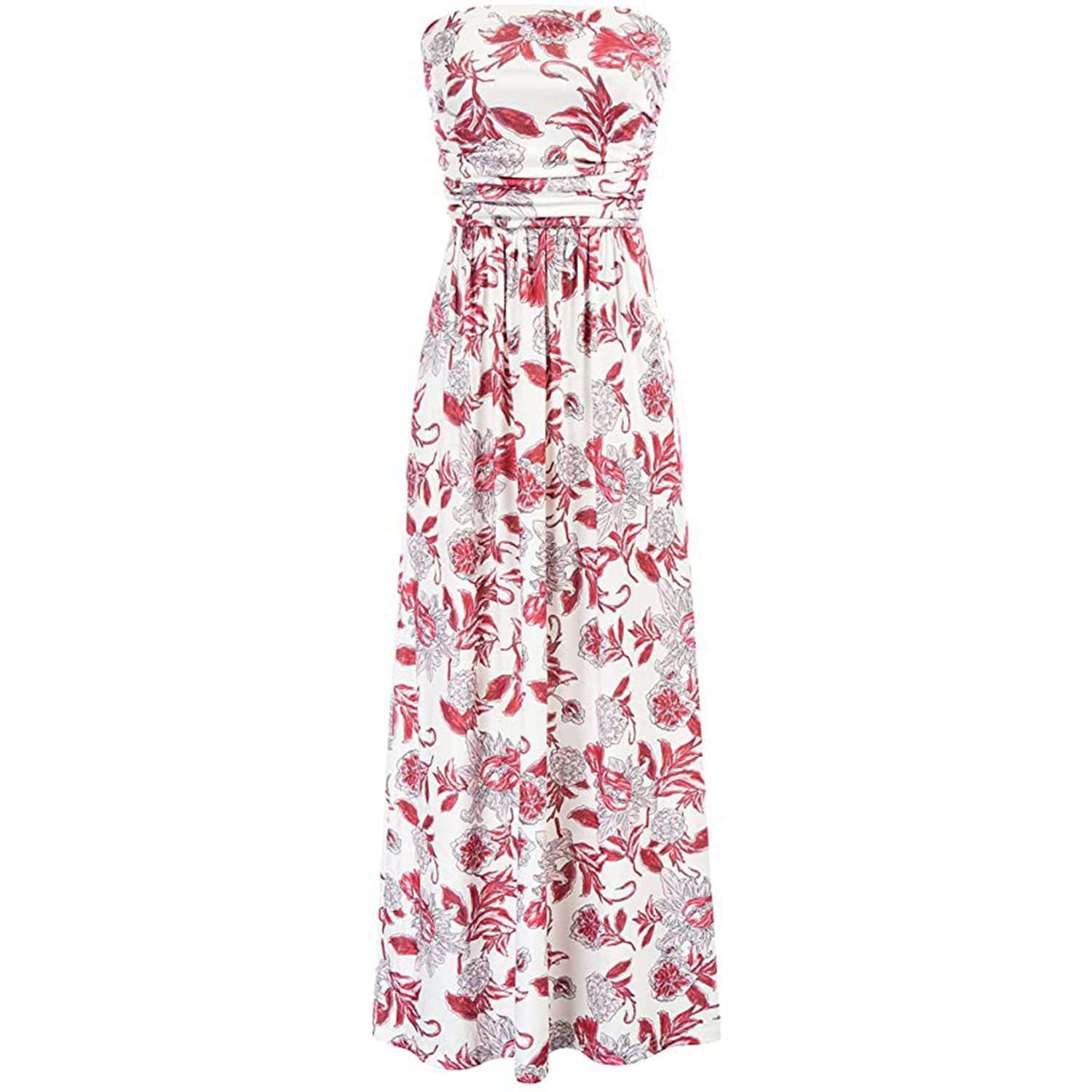 GRACE KARIN Women Strapless Casual Loose Ruched Long Maxi Dress