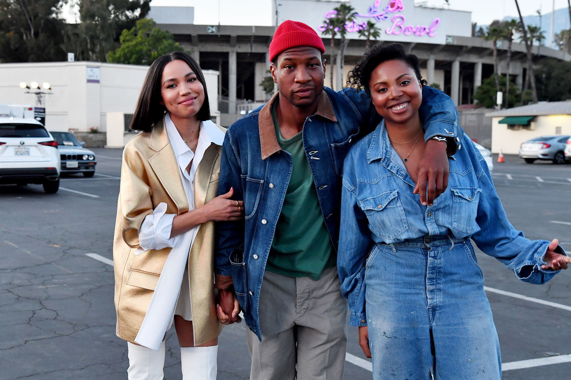 """Jurnee Smollett, Jonathan Majors and Misha Green attend the HBO Max FYC Drive-In for """"Lovecraft Country"""" at the Rose Bowl on May 18, 2021 in Pasadena"""