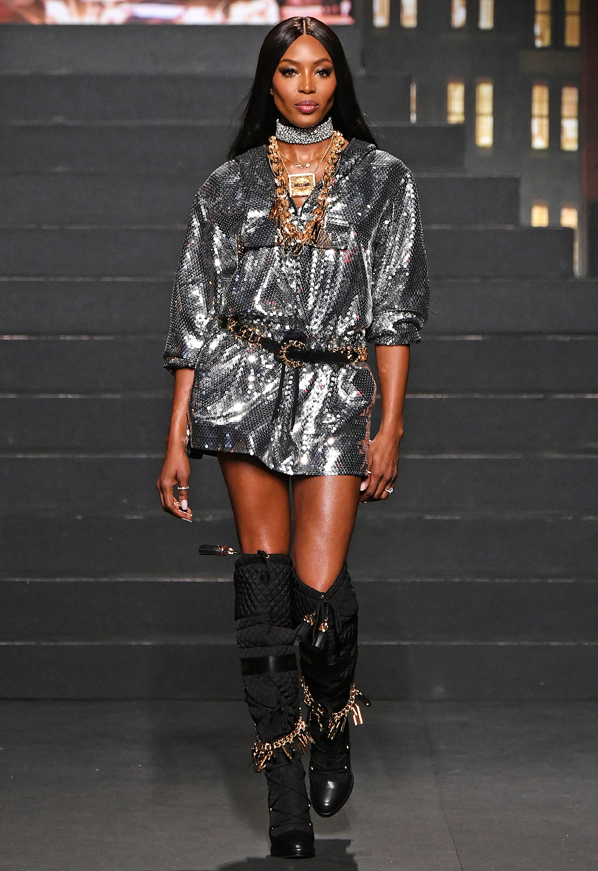 Naomi Campbell walks the runway during the Moschino x H&M - Runway