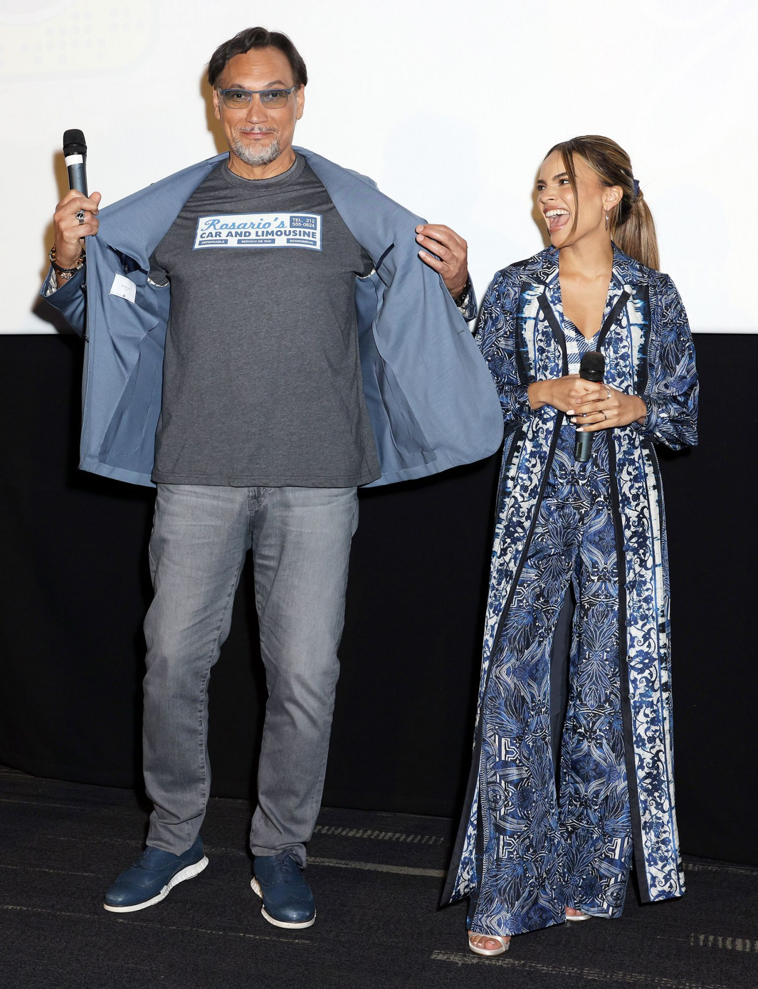 """Jimmy Smits and Leslie Grace are seen during the """"In The Heights"""" Miami Tour at Landmark Theatre on May 19, 2021 in Coral Gables, Florida"""