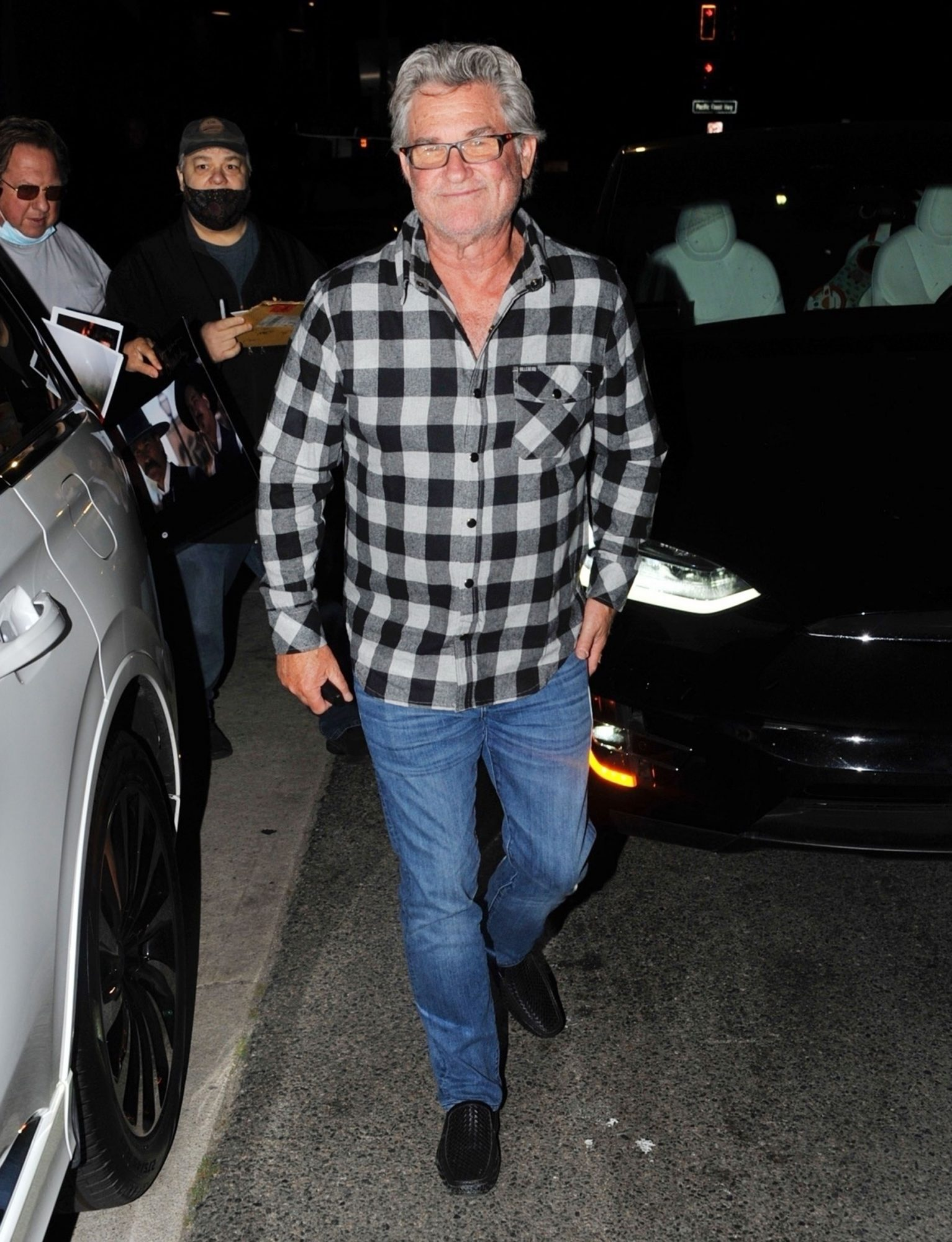 Kurt Russell, Goldie Hawn, and Kate Hudson leave after dinner at Giorgio Baldi