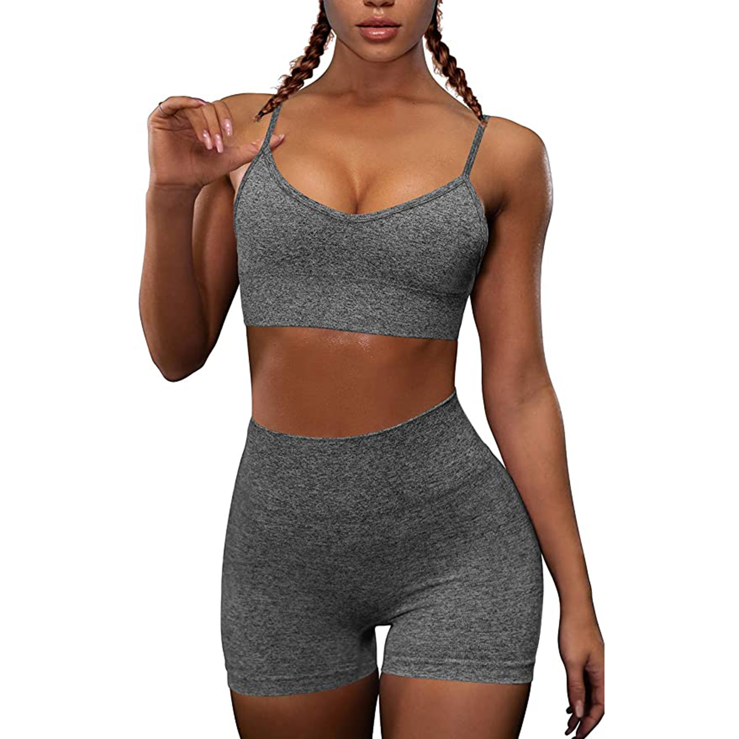 OQQ Yoga Outfit for Women Seamless 2 Piece Workout Gym High Waist Leggings with Sport Bra Set