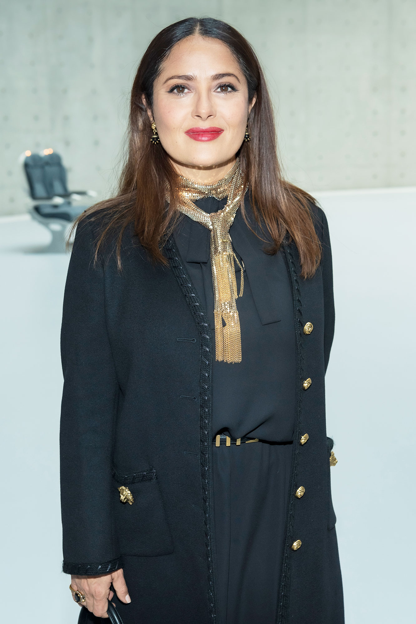 """Salma Hayek attends the """" Bourse de Commerce - Pinault Collection, Modern Art Foundation """" Opening Night on May 19, 2021 in Paris, France."""