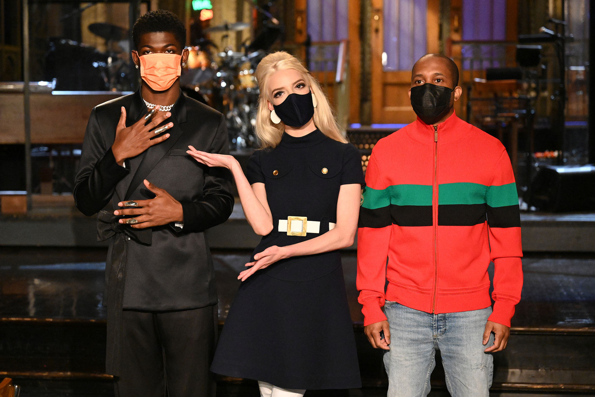"""SATURDAY NIGHT LIVE -- """"Anya Taylor-Joy"""" Episode 1805 -- Pictured: (l-r) Musical guest Lil Nas X, host Anya Taylor-Joy, and Chris Redd during Promos in Studio 8H on Thursday, May 20, 2021"""