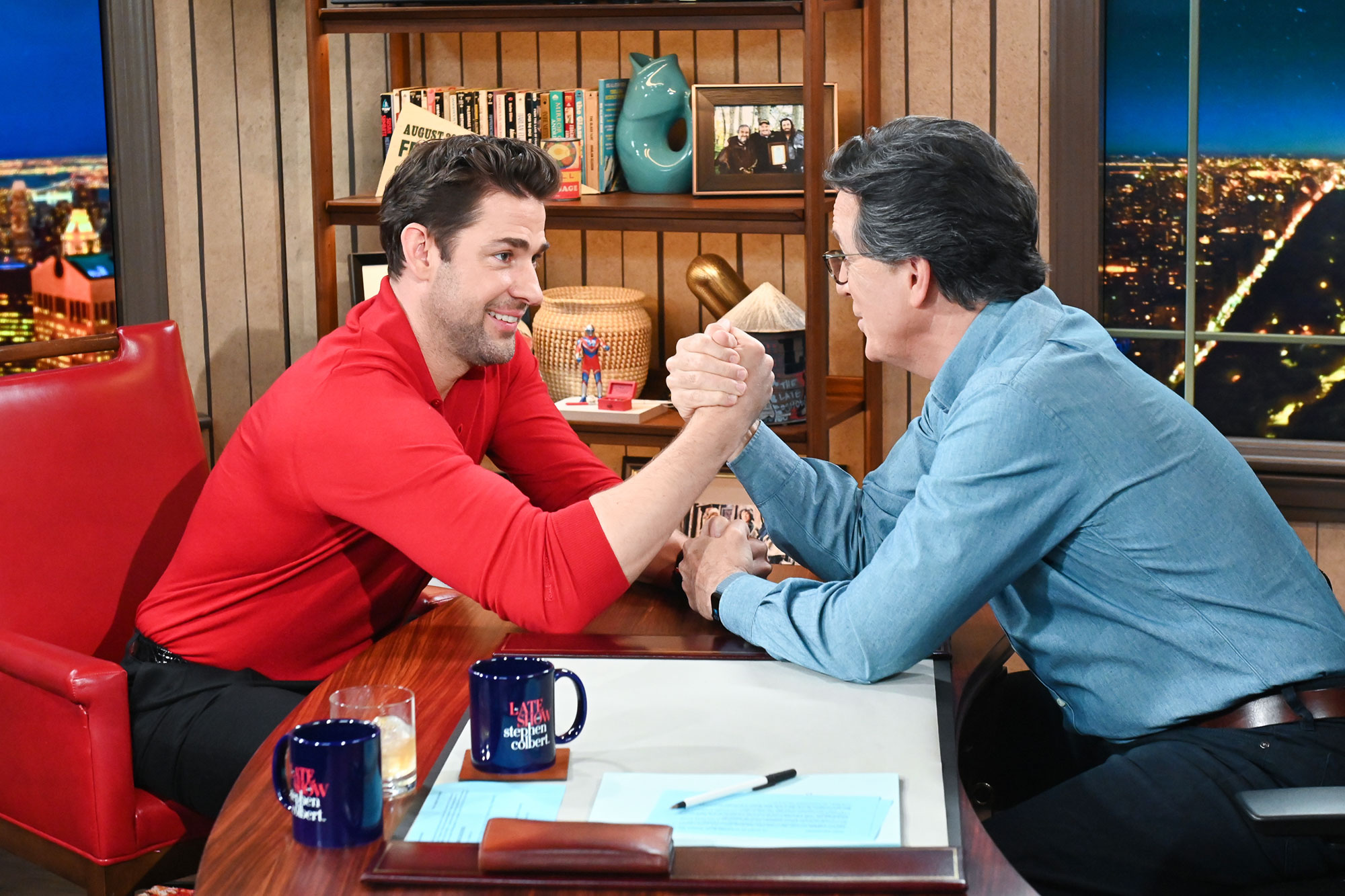 A Late Show with Stephen Colbert and guest John Krasinski during Thursday's May 20, 2021 live show