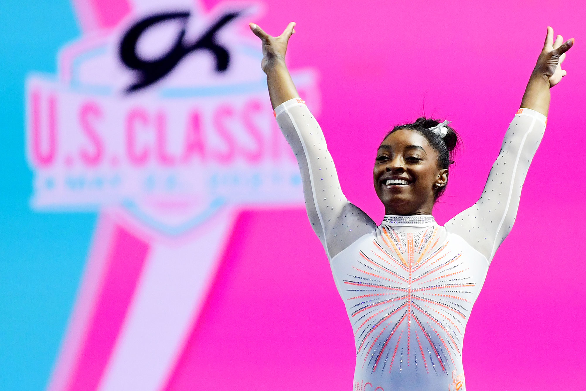 Simone Biles smiles after competing her floor routine during the 2021 GK U.S. Classic gymnastics competition at the Indiana Convention Center on May 22, 2021 in Indianapolis, Indiana