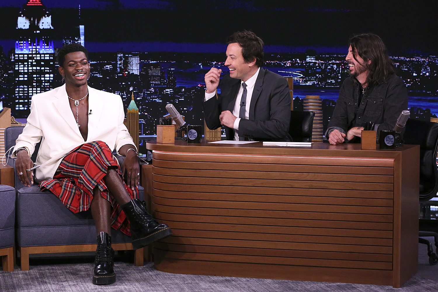 Lil Nas X during an interview with host Jimmy Fallon and musician Dave Grohl on 'THE TONIGHT SHOW STARRING JIMMY FALLON'