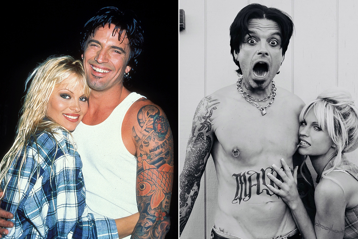 pamela anderson and tommy lee; sebastian stan and lily james