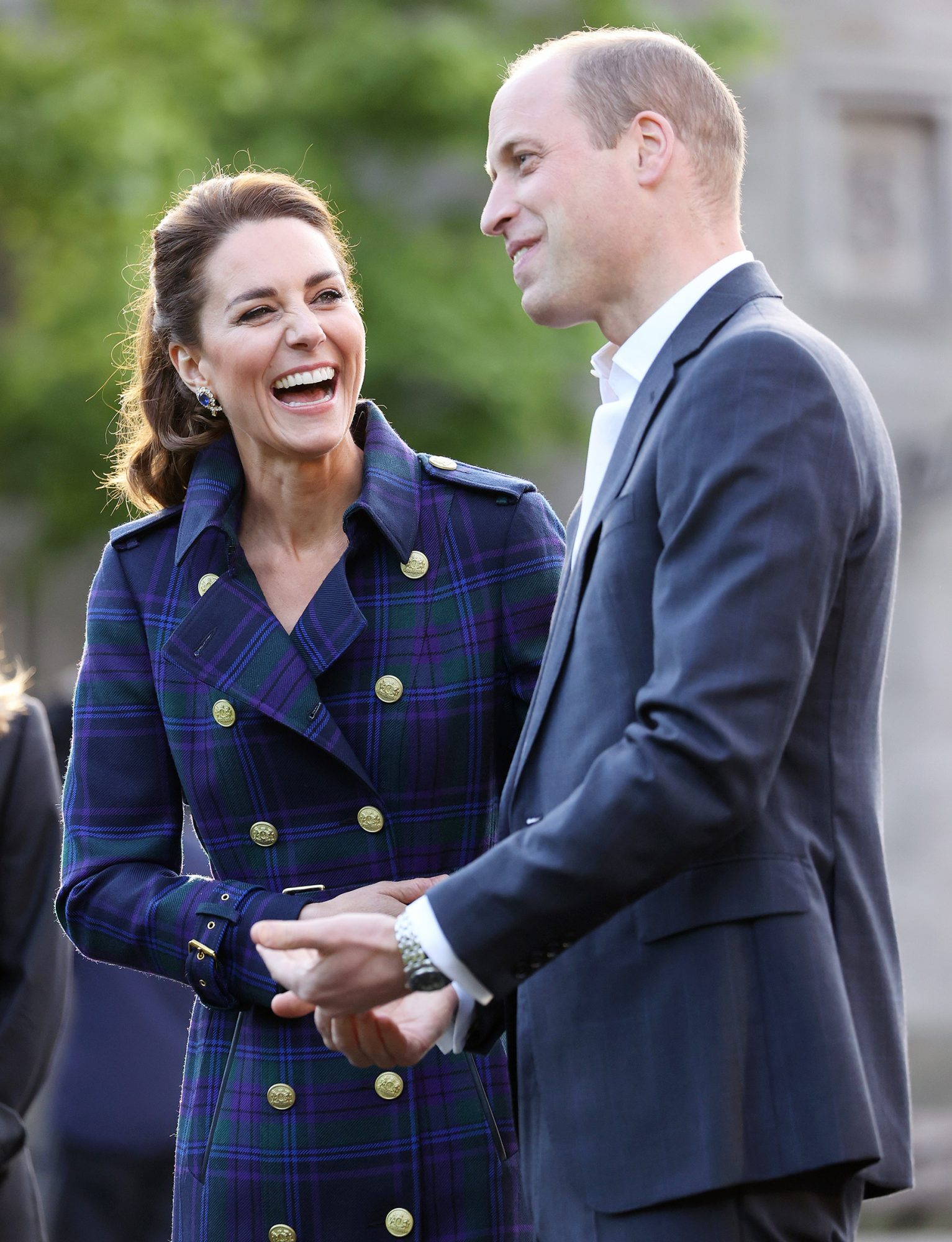 Prince William, Duke of Cambridge and Catherine, Duchess of Cambridge arrive to host NHS Charities Together and NHS staff at a unique drive-in cinema to watch a special screening of Disney's Cruella at the Palace of Holyroodhouse on day six of their week-long visit to Scotland on May 26, 2021 in Edinburgh, Scotland