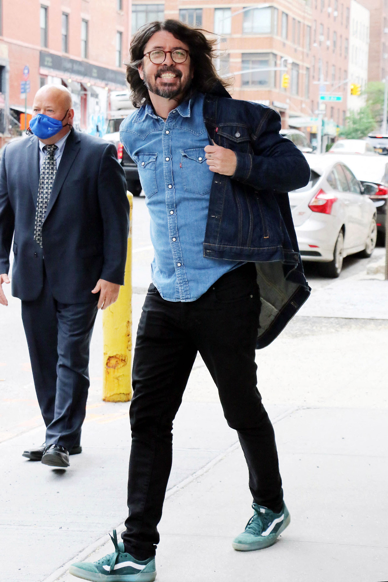 Dave Grohl seen at CBS studios promoting the docuseries 'From Cradle to Stage' at 'CBS This Morning' Dave Grohl out and about, New York, USA - 25 May 2021