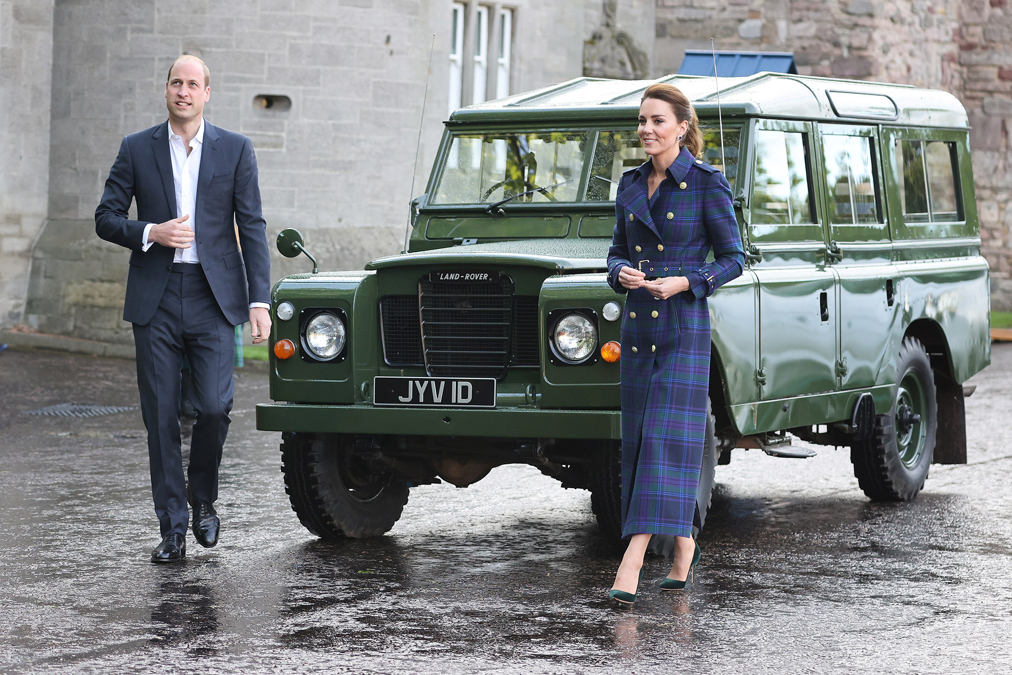 Prince William, Duke of Cambridge and Catherine, Duchess of Cambridge arrive in a Land Rover Defender that previously belonged to Prince Philip, Duke of Edinburgh to host NHS Charities Together and NHS staff at a unique drive-in cinema to watch a special screening of Disney's Cruella at the Palace of Holyroodhouse on day six of their week-long visit to Scotland on May 26, 2021 in Edinburgh