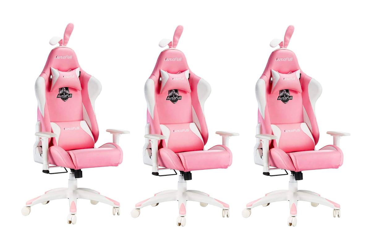 AutoFull Pink Gaming Chair PU Leather High Back Ergonomic Racing Office Desk Computer