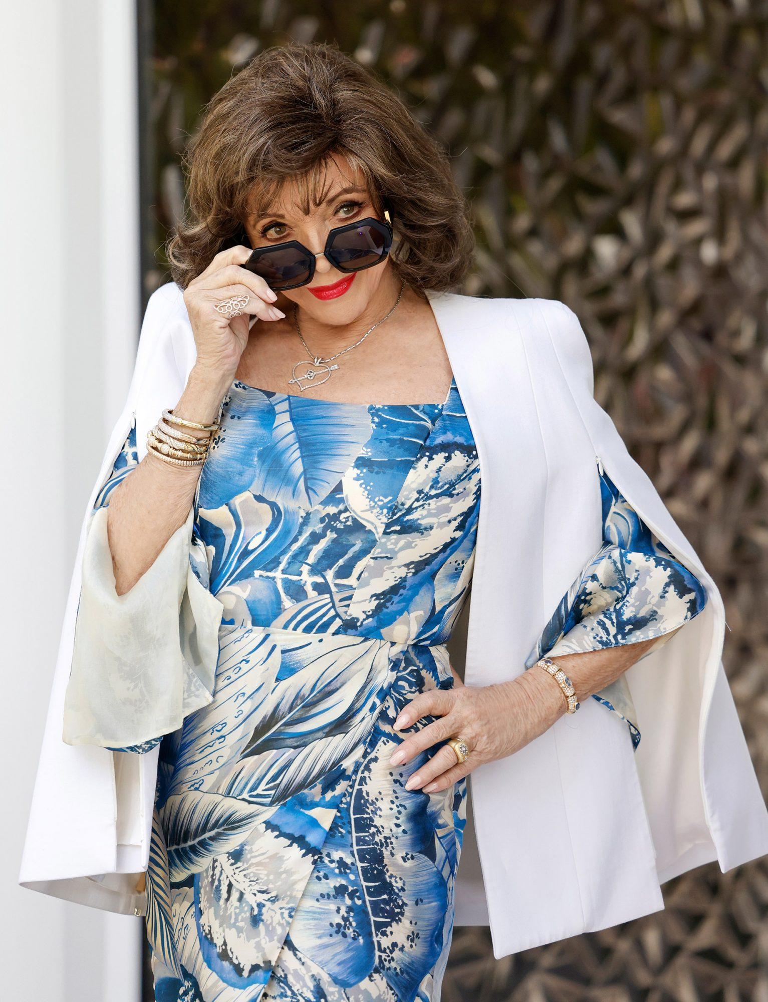 British actress Joan Collins during the Villa Remus Press Day on May 26, 2021 in Palma de Mallorca, Spain
