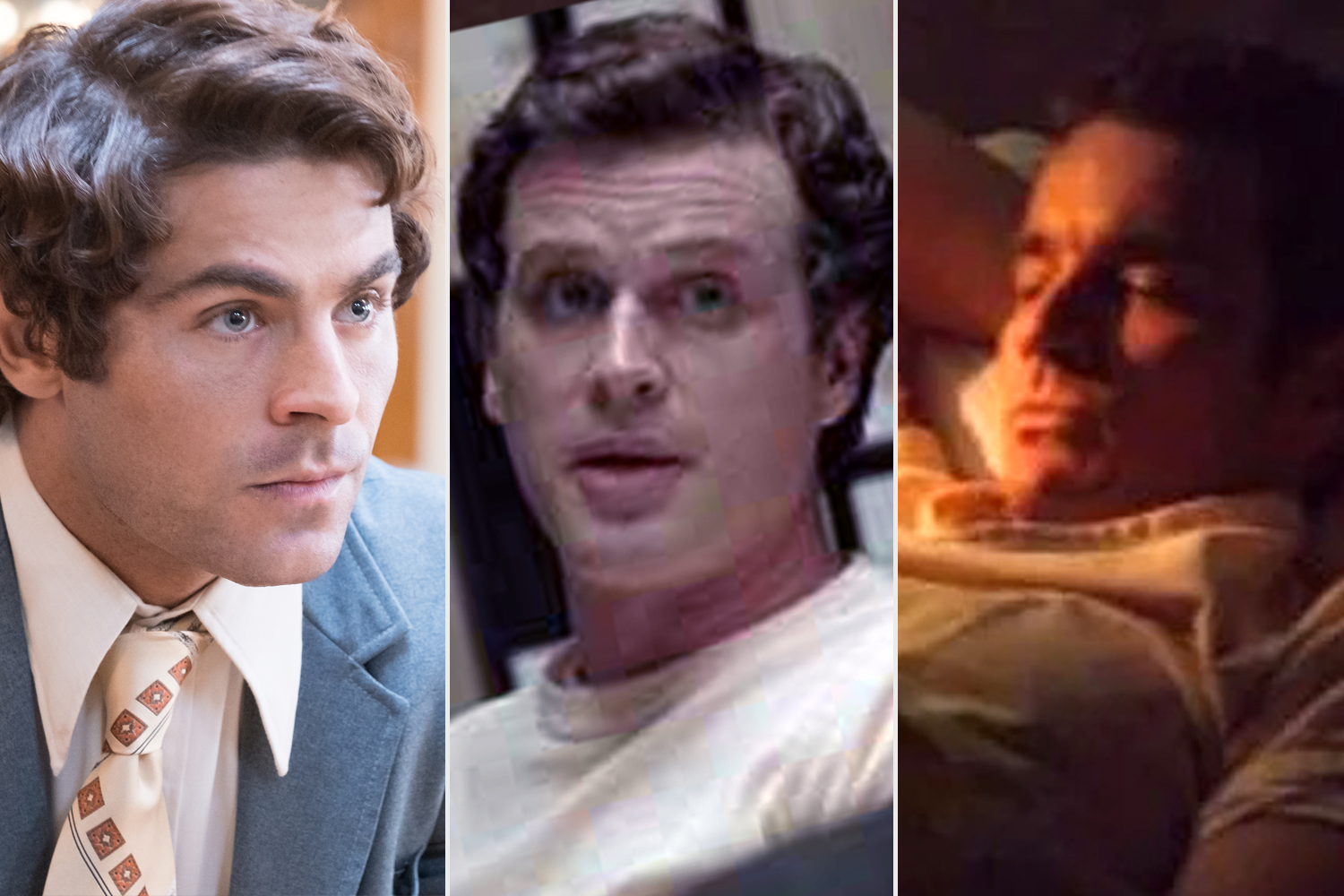 From L to R: Zac Efron, Cary Elwes and James Marsters as Ted Bundy