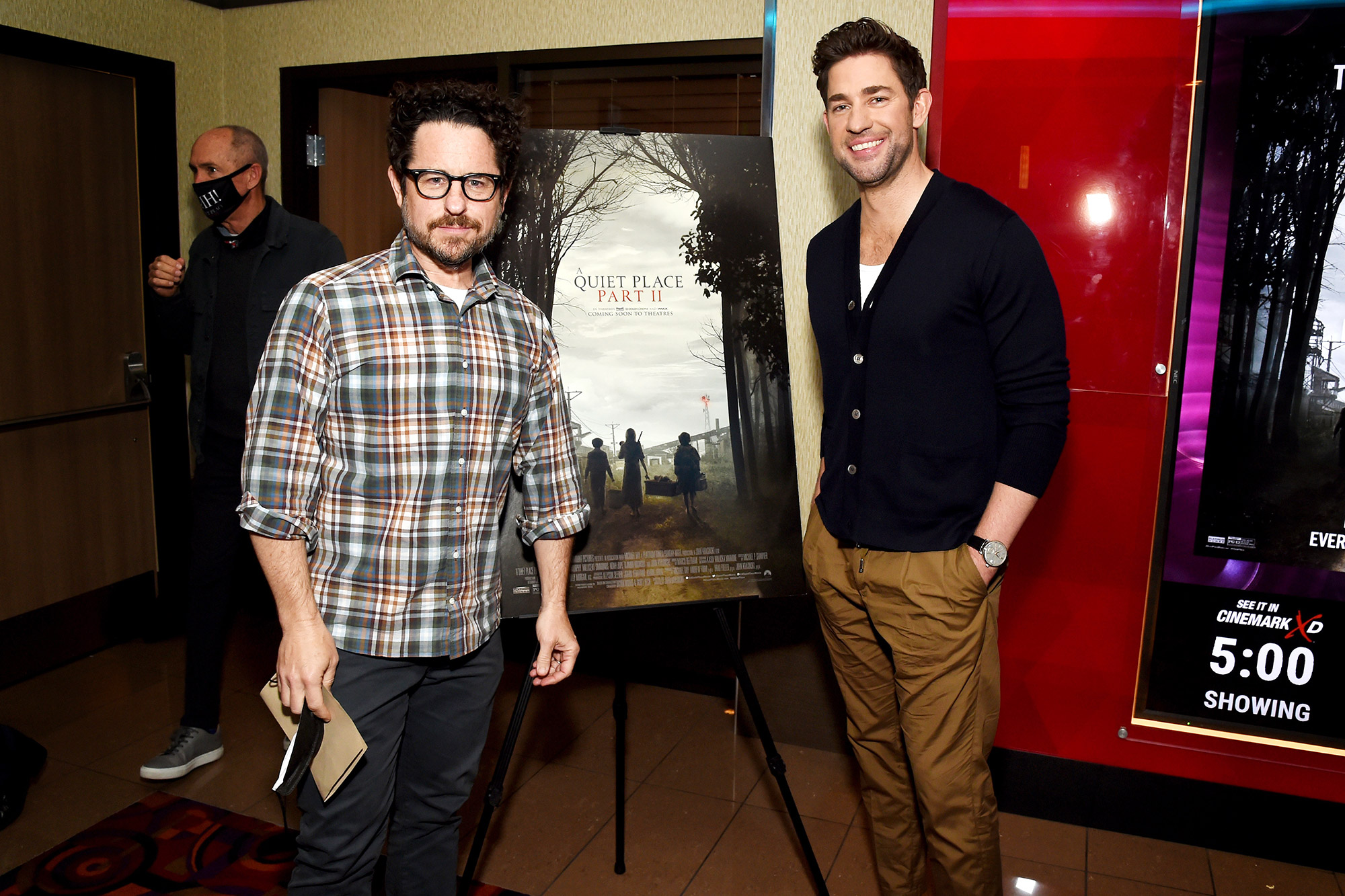 J.J. Abrams and John Krasinski attends the Los Angeles Screening of 'A Quit Place Part II' at the Cinemark Playa Vista and XD on May 27, 2021 in Los Angeles, California