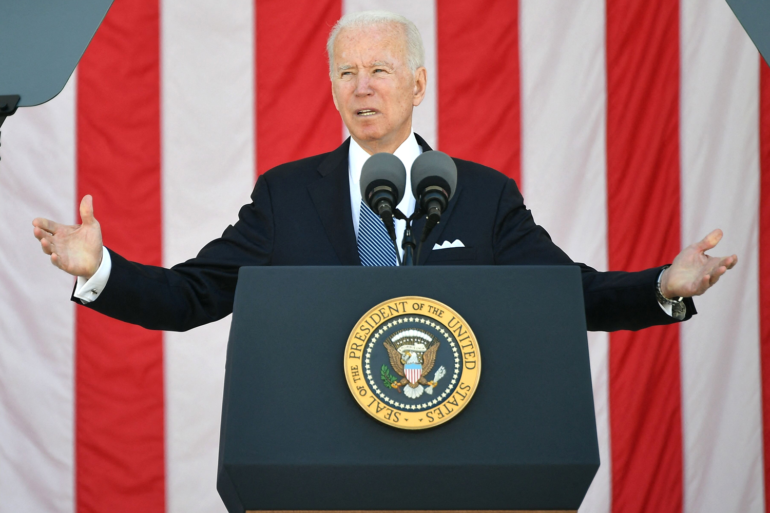 US President Joe Biden delivers an address at the 153rd National Memorial Day Observance