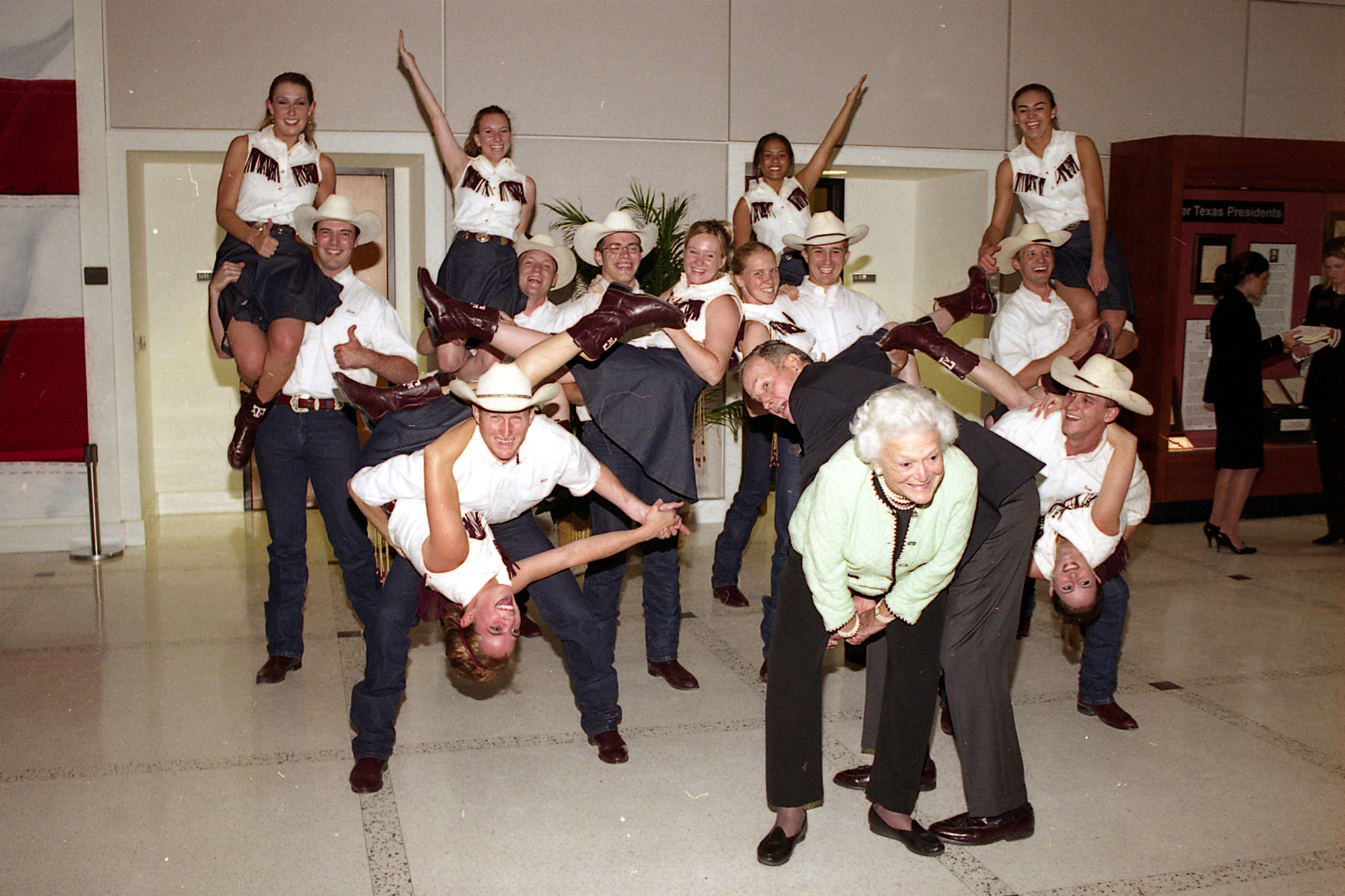 President and Mrs. Bush trying out for the Aggie Wranglers dance team at Texas A&M. They didn't make the cut.