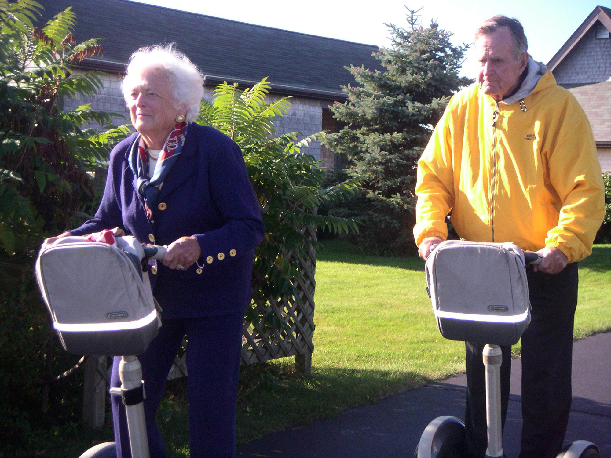 Just for the fun of it, the Bushes had their own mock Summer Olympics in 2004. Here they compete in the hotly contested Segway race, won by Mrs. Bush. CBS Sportscaster Jim Nantz showed the video during an NFL broadcast that fall.