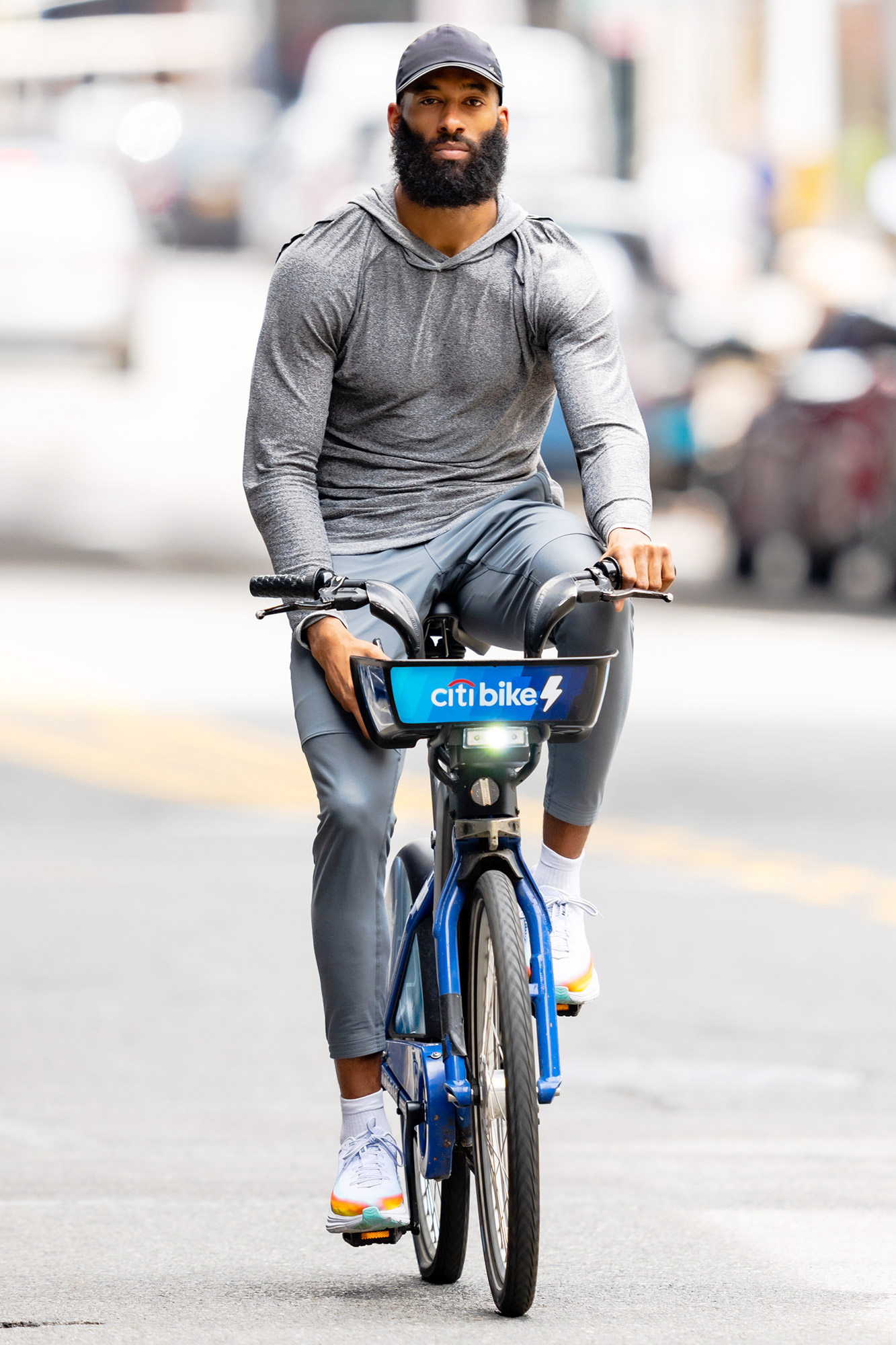 Matt James is Spotted on a Bike Ride in New York City.