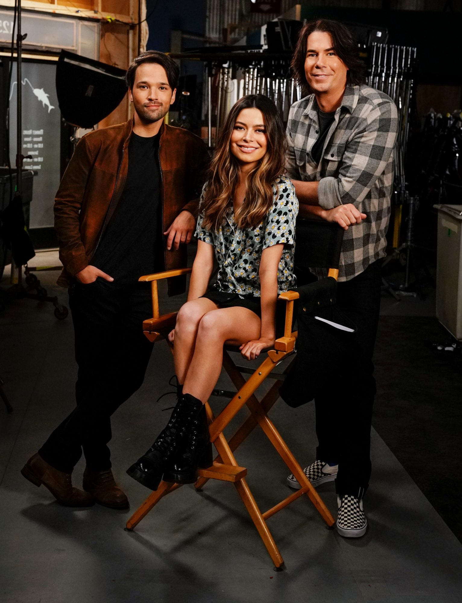 athan Kress, Miranda Cosgrove and Jerry Trainor of the Paramount+ series iCARLY.