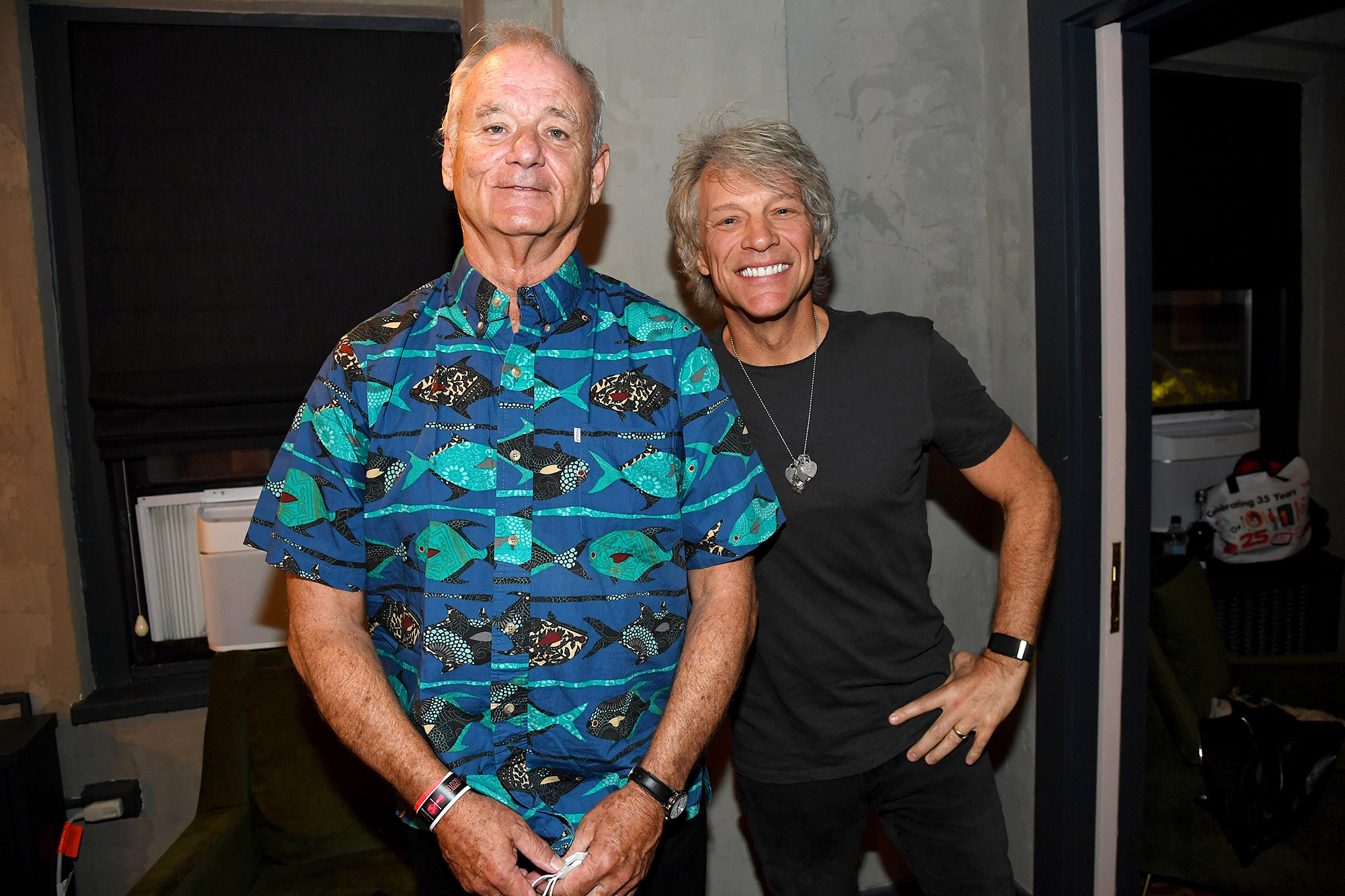 Bill Murray (L) and Jon Bon Jovi appear at the Fifth Annual LOVE ROCKS NYC Benefit Concert Livestream for God's Love We Deliver at The Beacon Theatre on June 03, 2021 in New York City