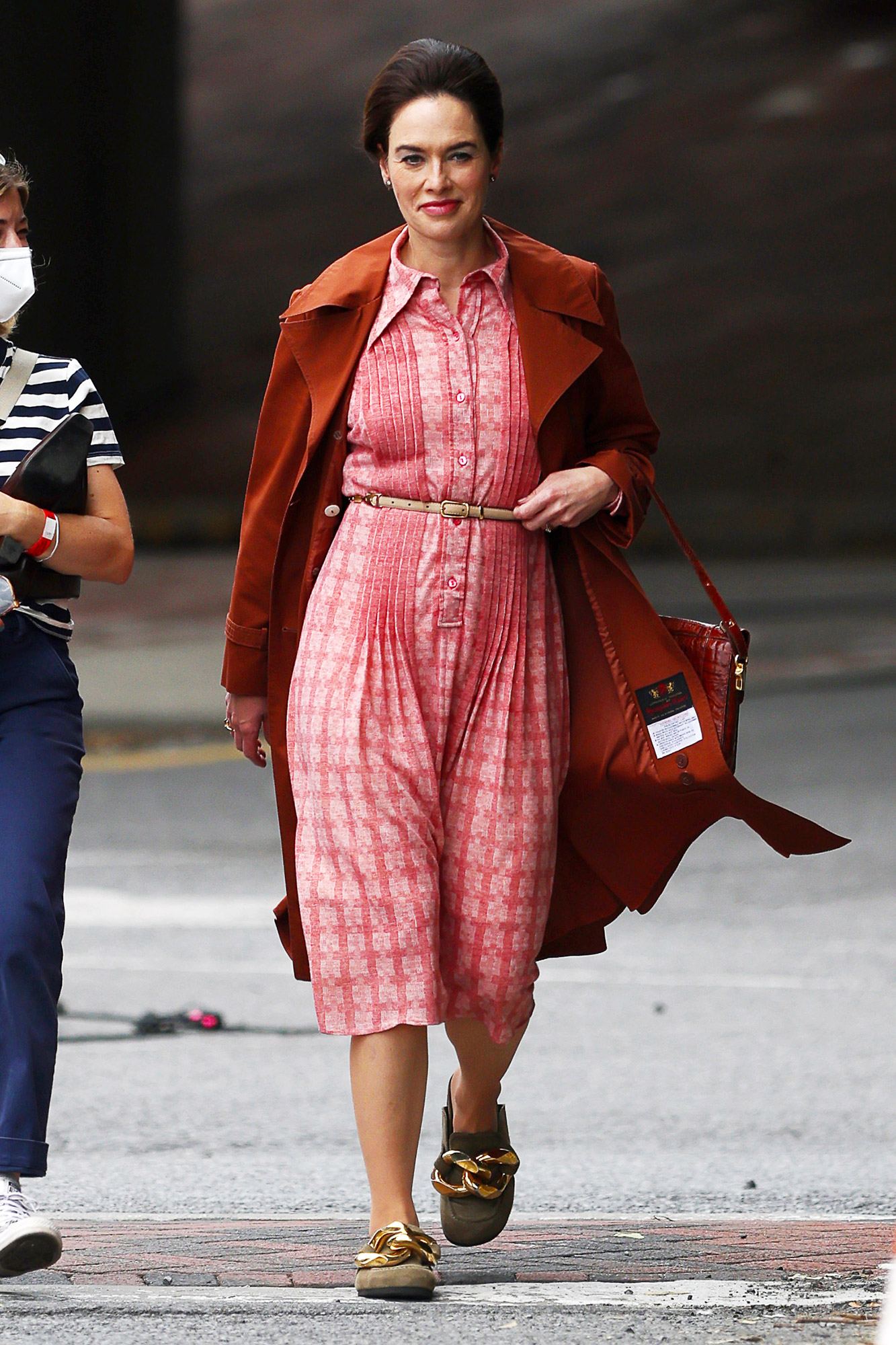Lena Headey is Spotted For The First Time on set of 'White House Plumbers' in Poughkeepsie, New York.