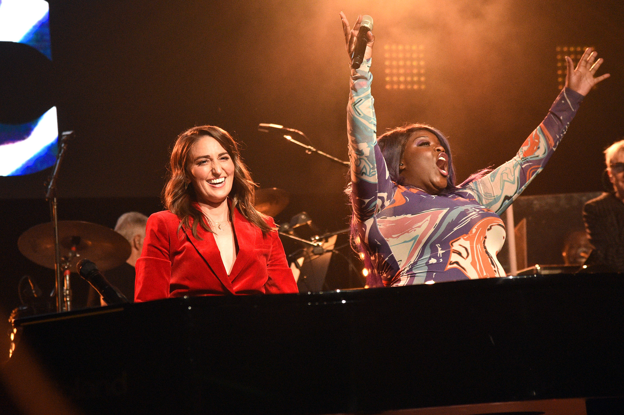 Sara Bareilles (L) and Yola perform at the Fifth Annual LOVE ROCKS NYC Benefit Concert Livestream for God's Love We Deliver at The Beacon Theatre on June 03, 2021 in New York City
